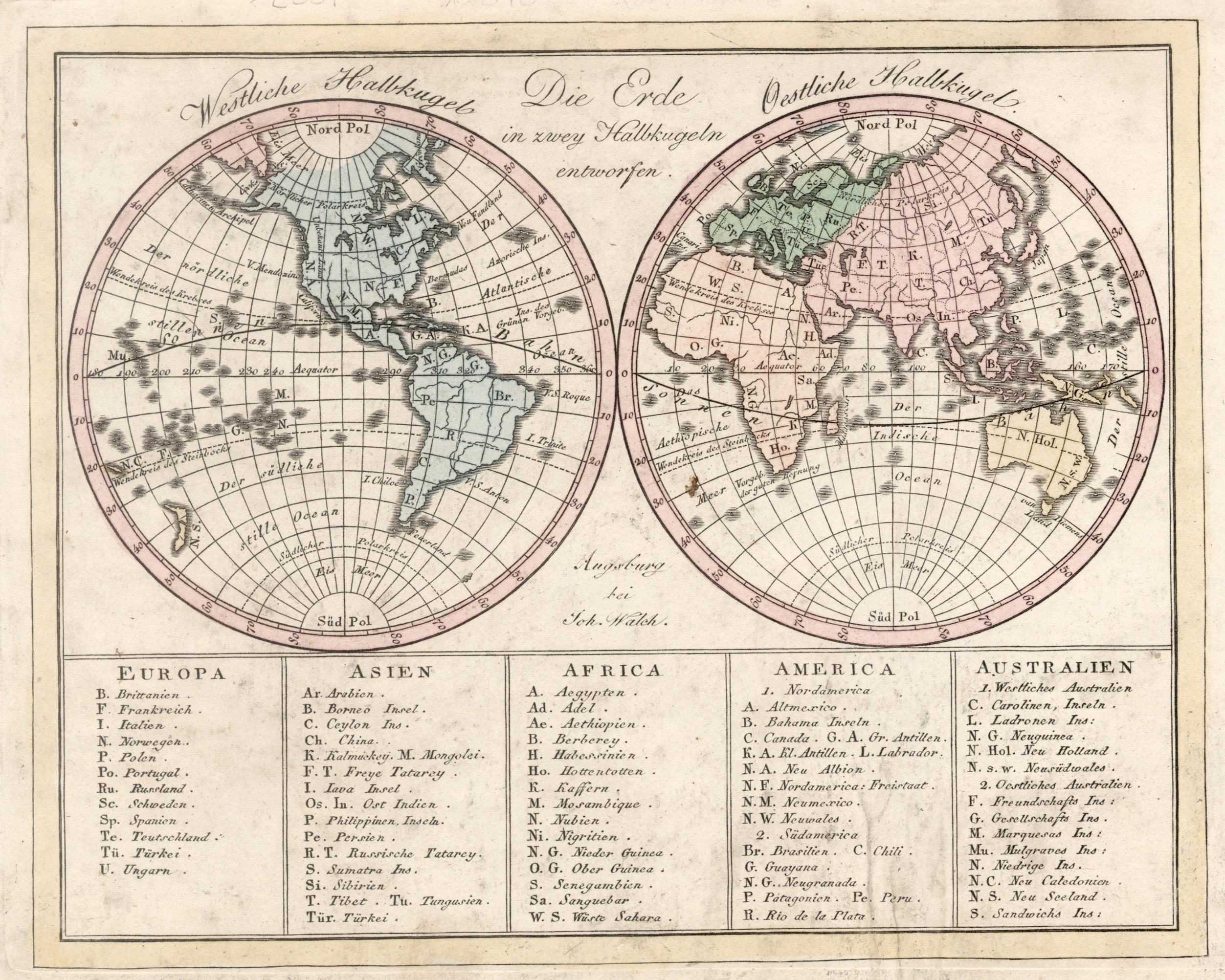 "Kst.- Karte, b. J. Walch, ""Die Erde: Weltkarte ( World"