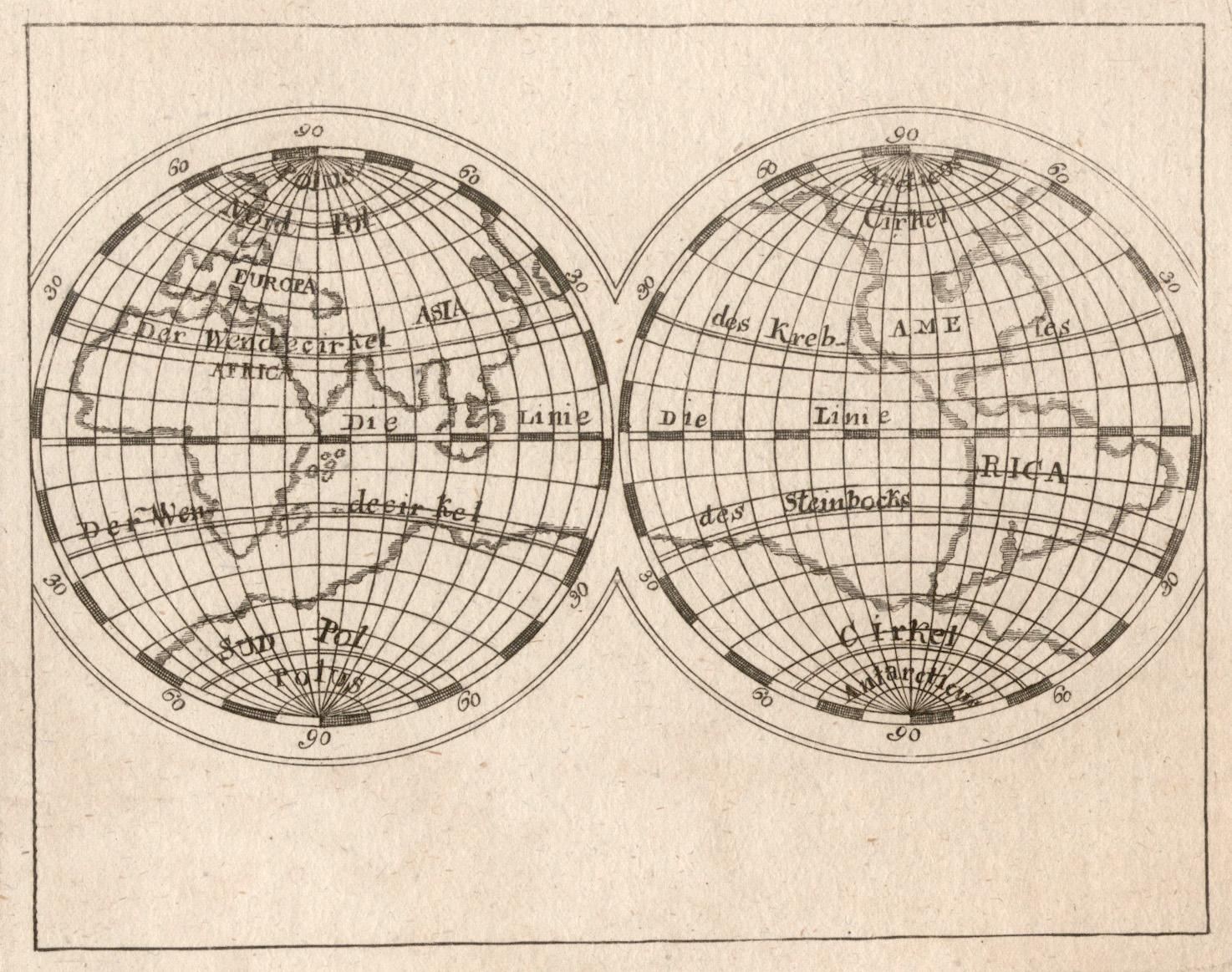 """Kst.- Karte, anonym, aus """"Schauplatz der Natur: Weltkarte ( World"""