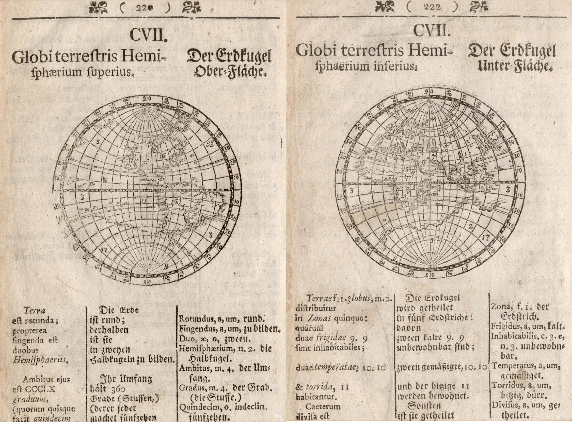 """Hschn.- Karte, """"Der Erdkugel Ober-Fläche"""", u. """"Der: Weltkarte ( World"""