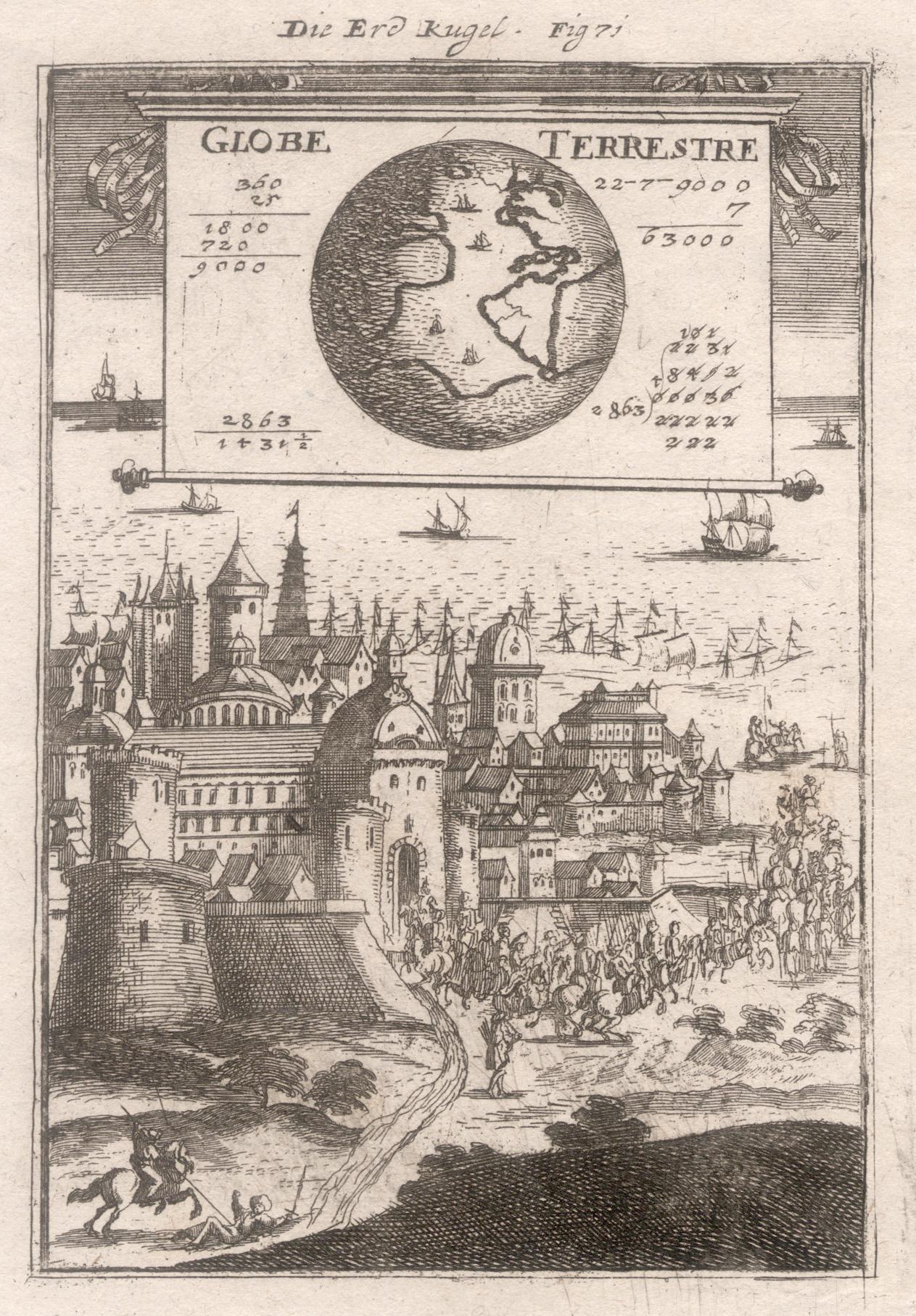"""Kst.- Karte, aus Mallet, """"Die Erdkugel. Globe: Weltkarte ( World"""