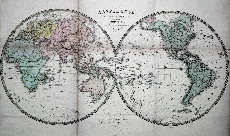 Farblitho-Karte, nach A. Vuillemin bei Lemercier in: Weltkarte ( World