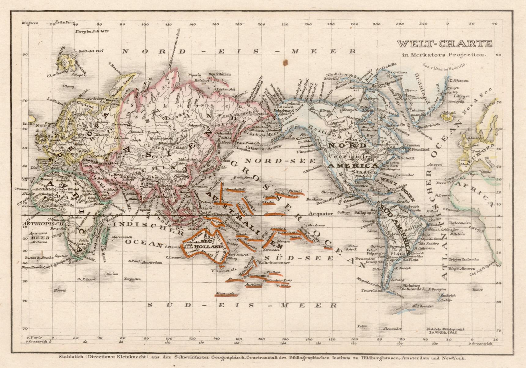 "Stst.- Karte, v. Greenwich b. B.I., ""Welt-Charte: Weltkarte ( World"