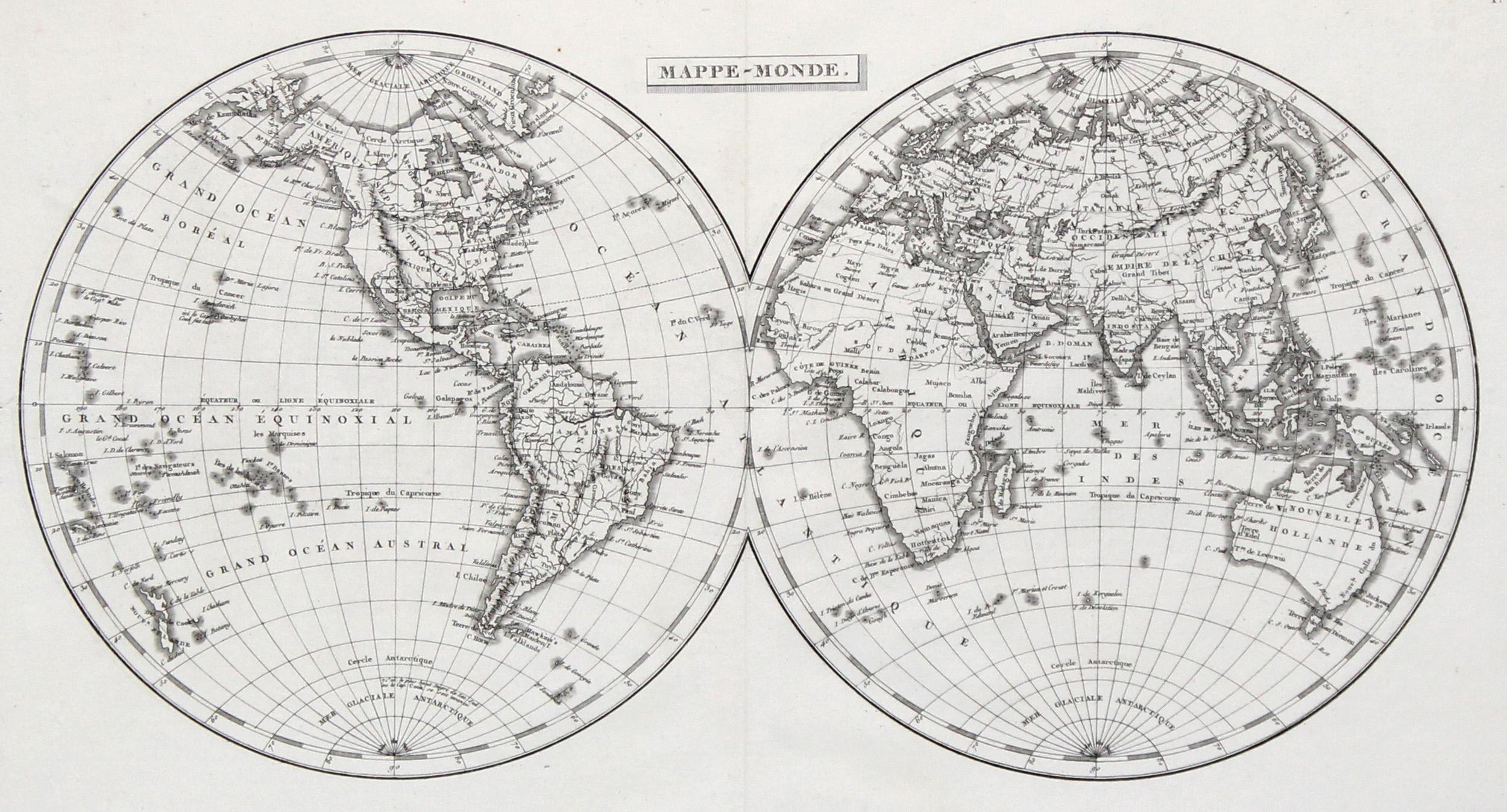 Kst.- Karte, n. Arrowsmith u. Buache aus: Weltkarte ( World