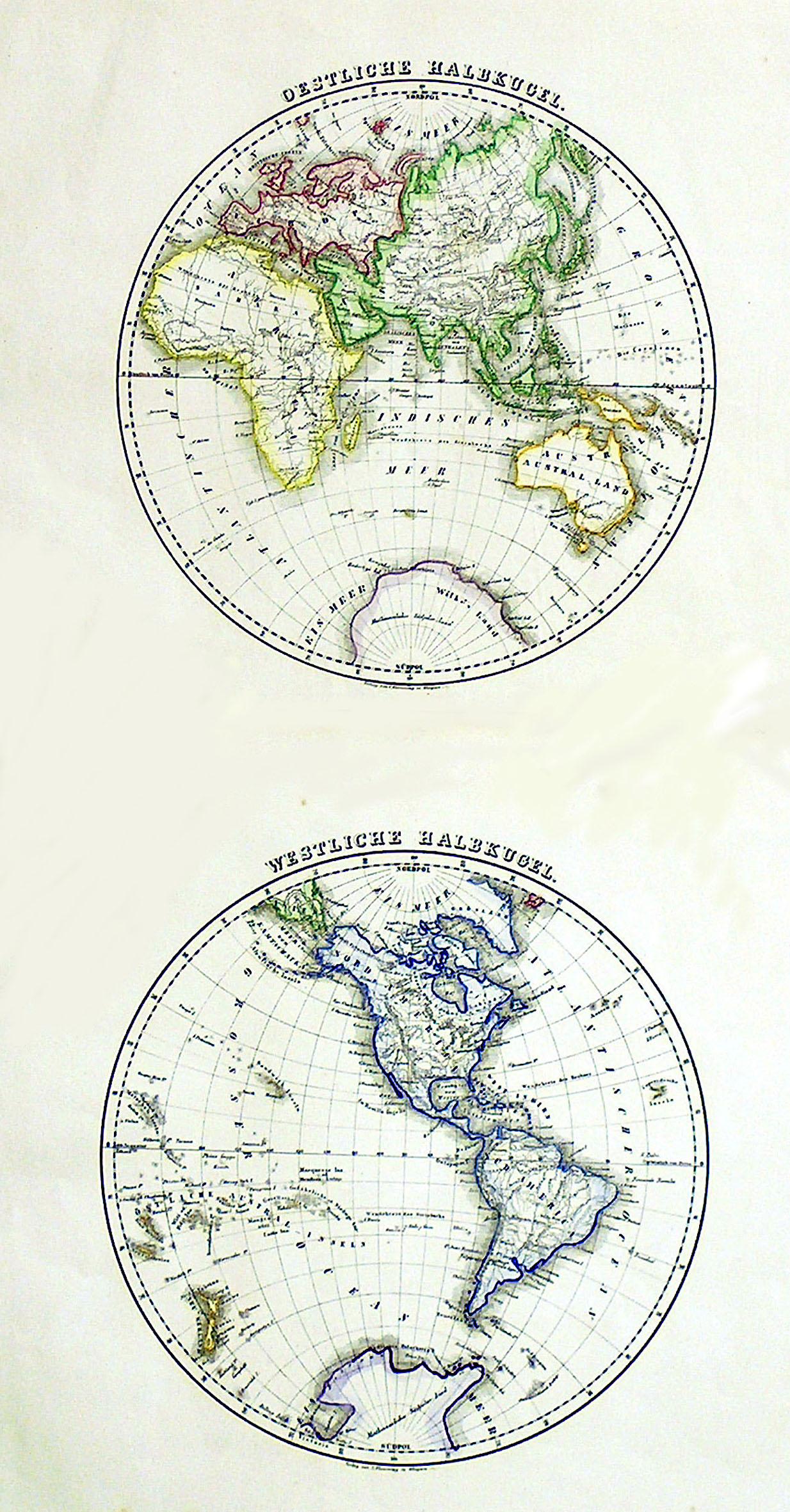 Litho.- Karte, in 2 Blatt, b. Flemming: Weltkarte ( World