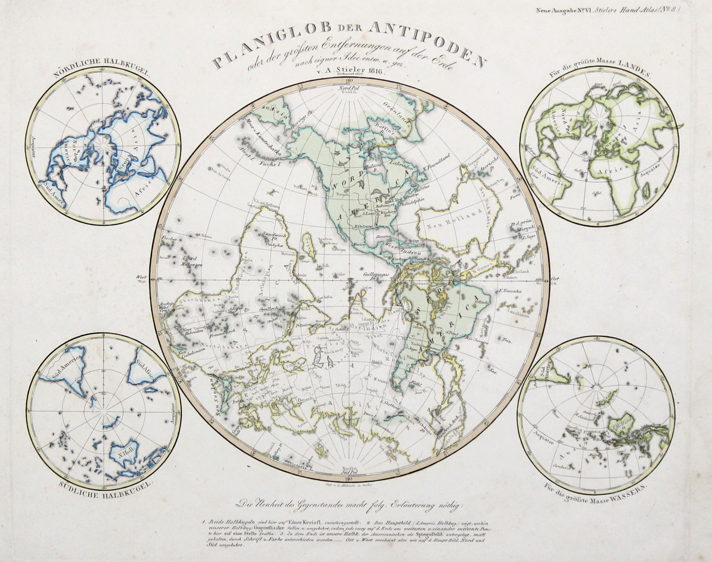 """Kst.- Karte, v. Michaelis n. Stieler, """"Planiglob: Weltkarte ( World"""