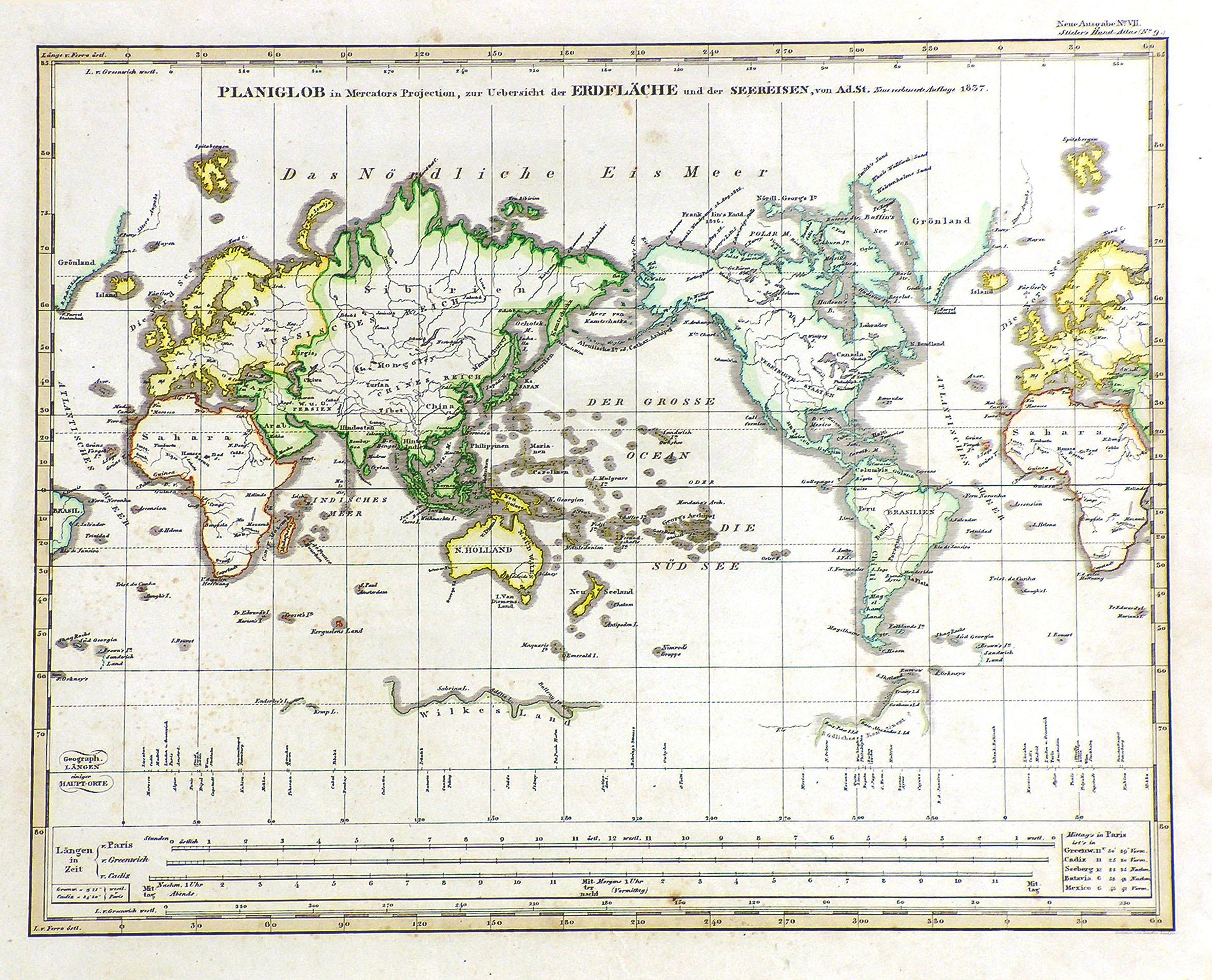 "Kst.- Karte, n. Stieler v. Ausfeld, ""Planiglob: Weltkarte ( World"