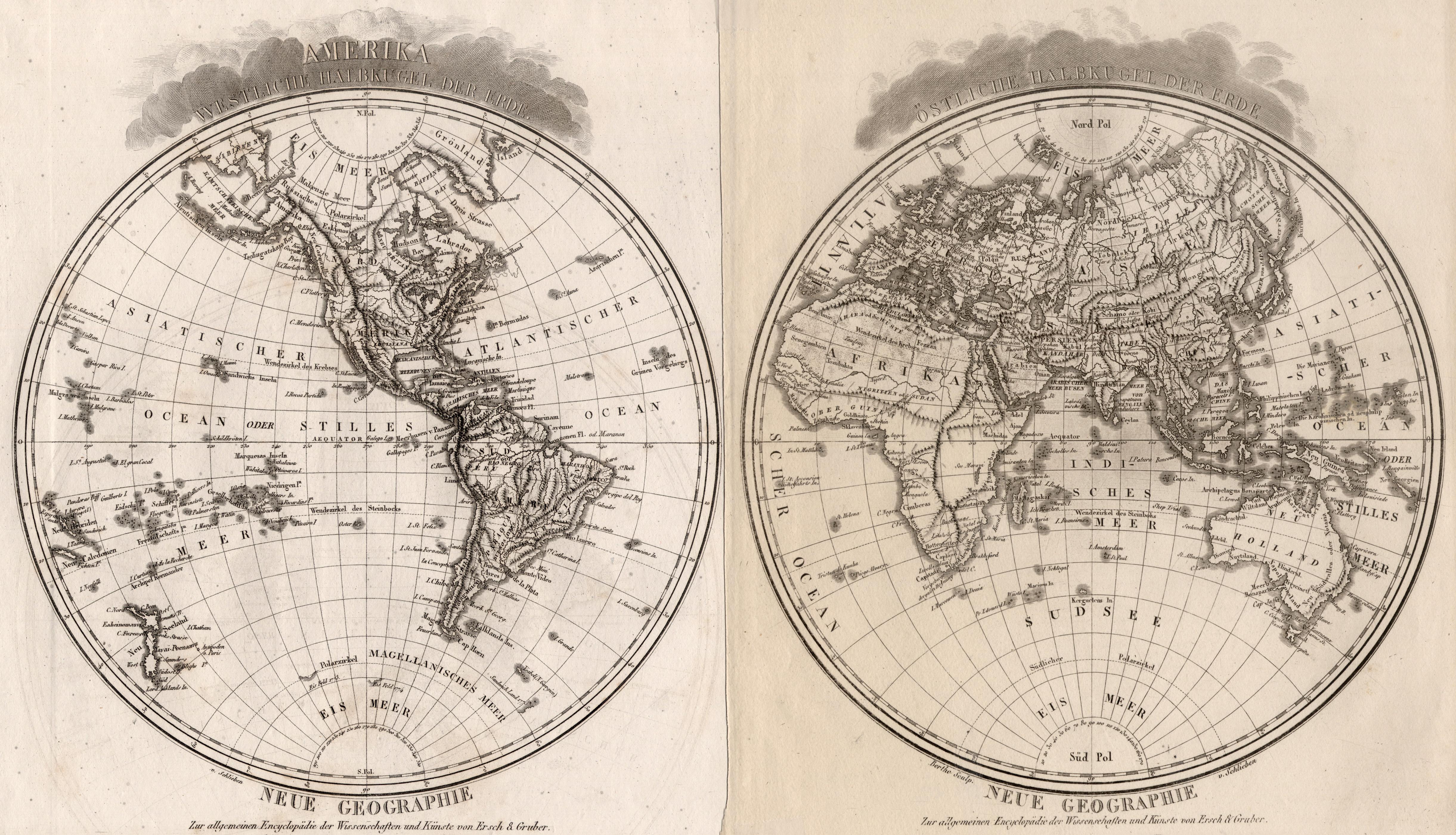 Kst.- Karte, 2 Blatt v. Berthe n.: Weltkarte ( World