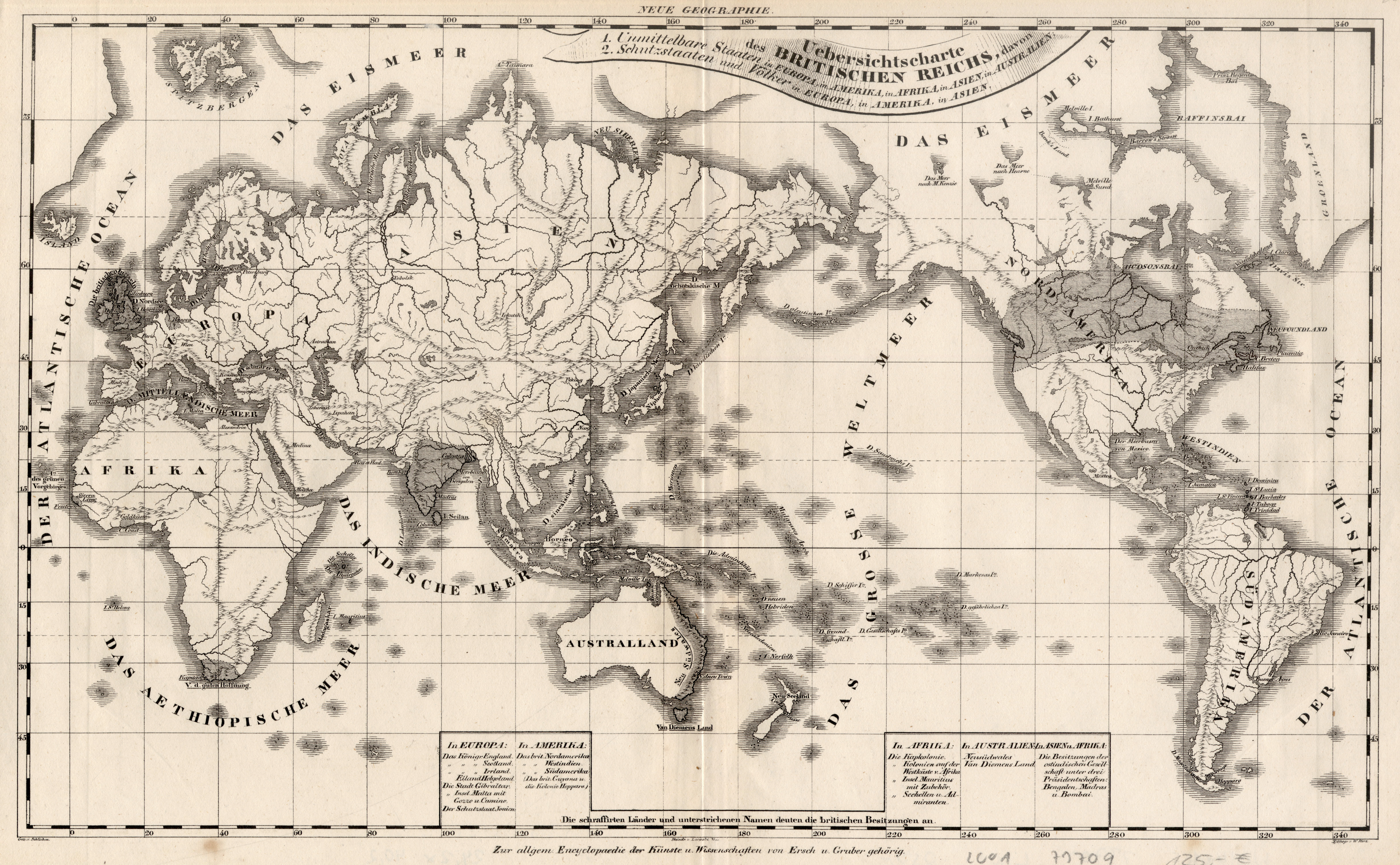 Litho.- Karte, v. W. Herz n. Schlieben,: Weltkarte ( World