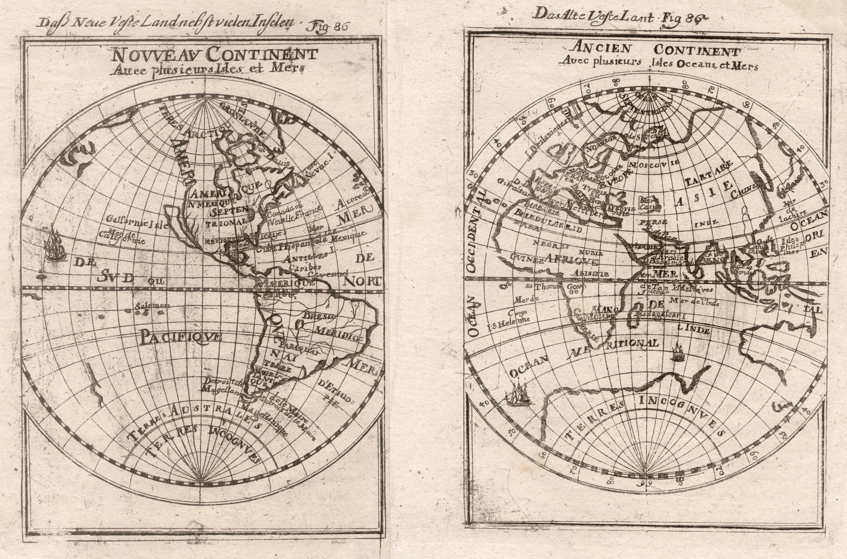 Kst.- Karte, in 2 Blatt aus Mallet,: Weltkarte ( World
