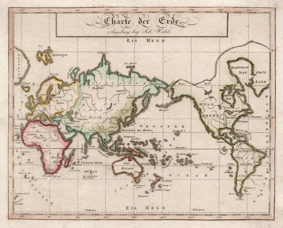 "Kst.- Karte, b. J. Walch, ""Charte der: Weltkarte ( World"