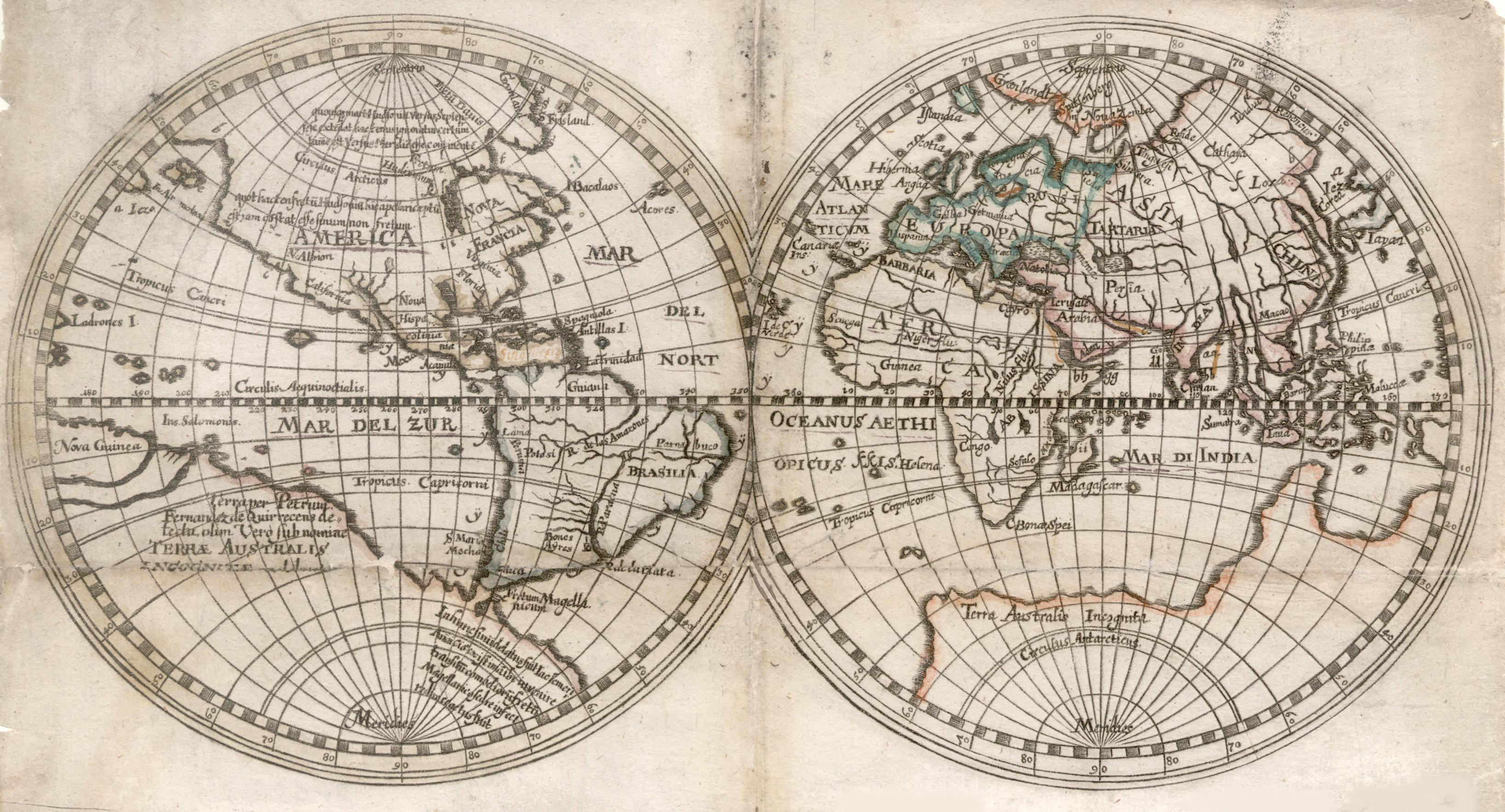 Kst.- Karte, aus Duval / Hoffmann ?,: Weltkarte ( World