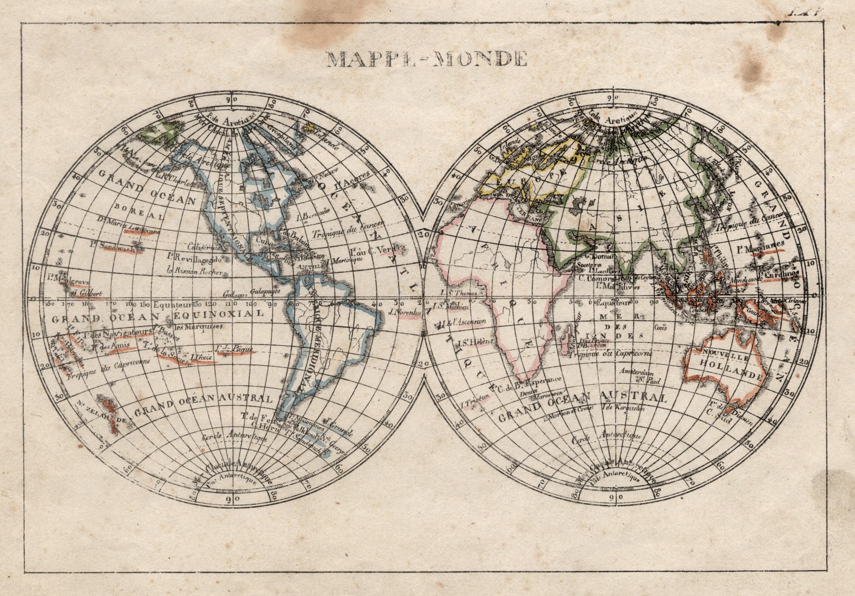 "Litho.- Karte, b. Engelmann, ""Mappe - Monde"".: Weltkarte ( World"