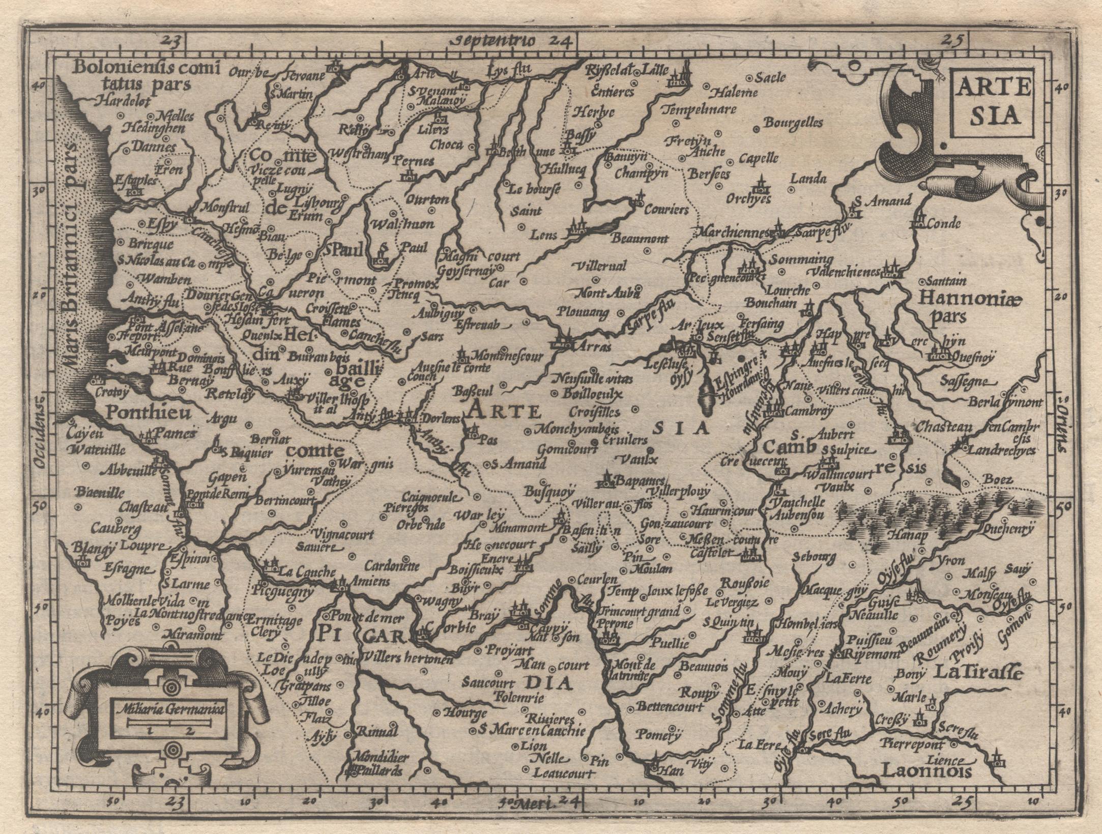 "Kst.- Karte, n. Mercator b. Hondius, ""Artesia"".: Artois:"