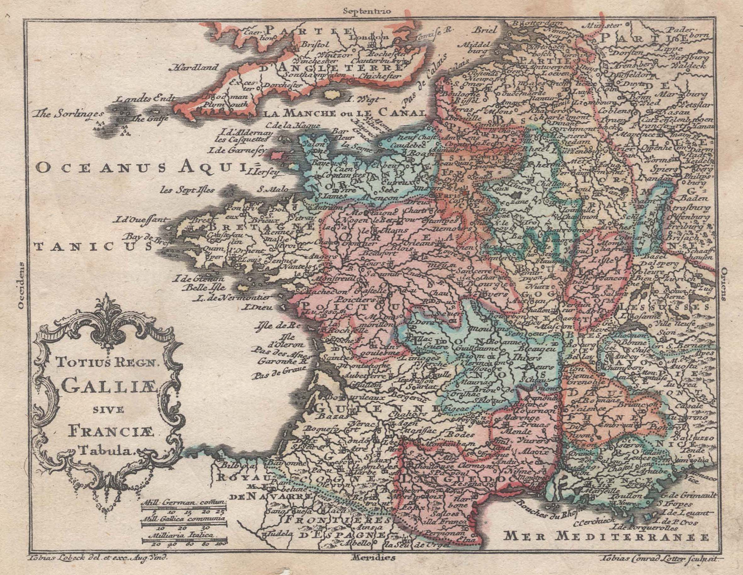 "Kst.- Karte, v. Lobeck b. Lotter, ""Totius: Frankreich ( France"