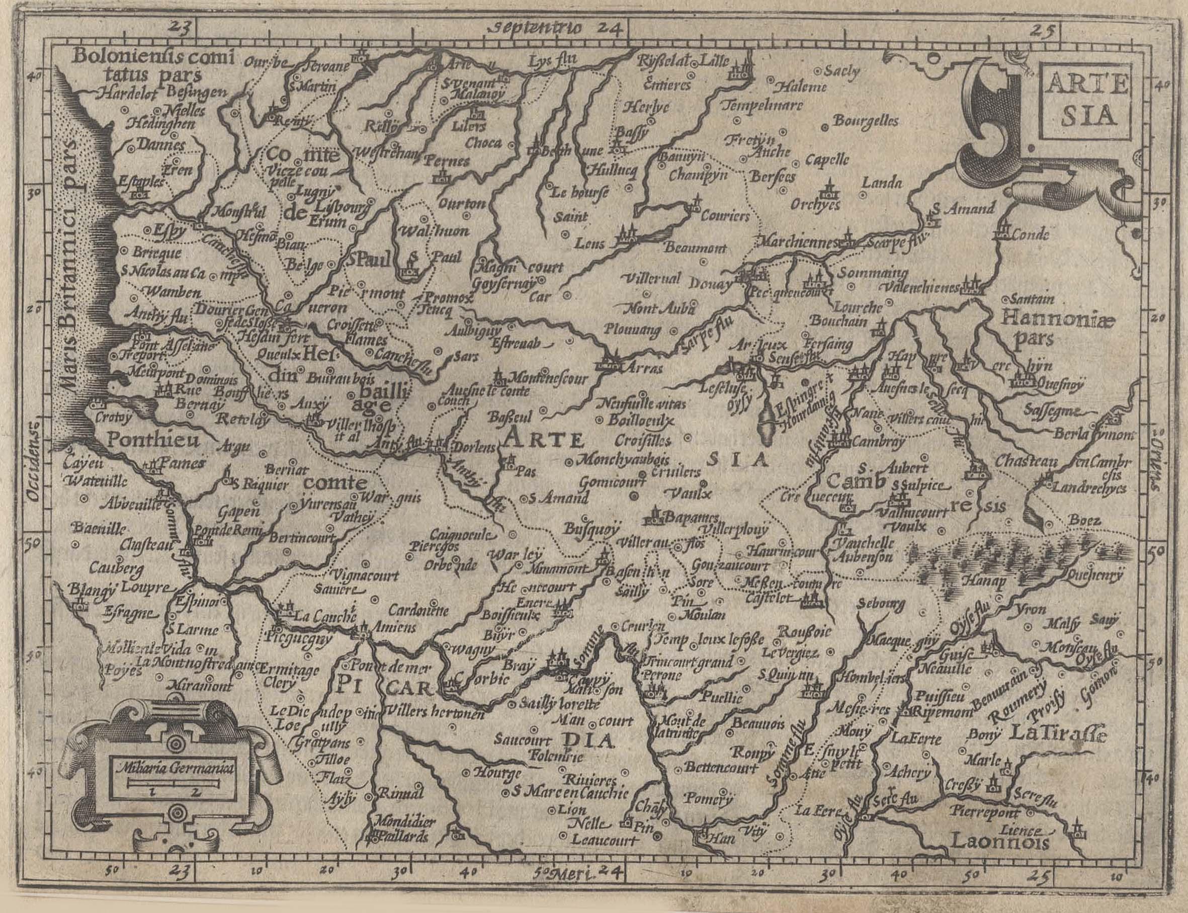 "Kst.- Karte, b. Hondius n. Mercator, ""Artesia"".: Artois:"