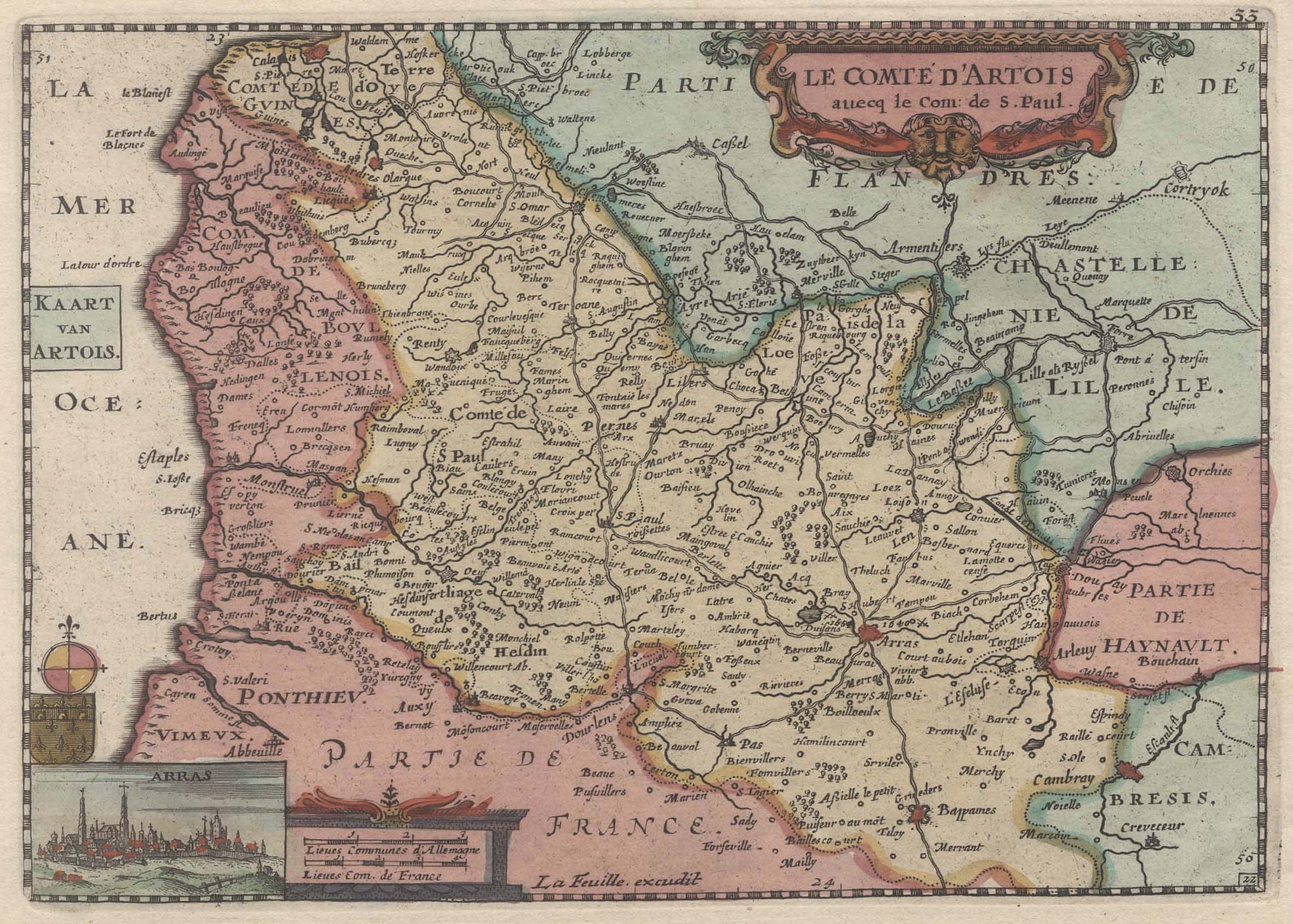 Kst.- Karte, v. Daniel de La Feuille,: Artois: