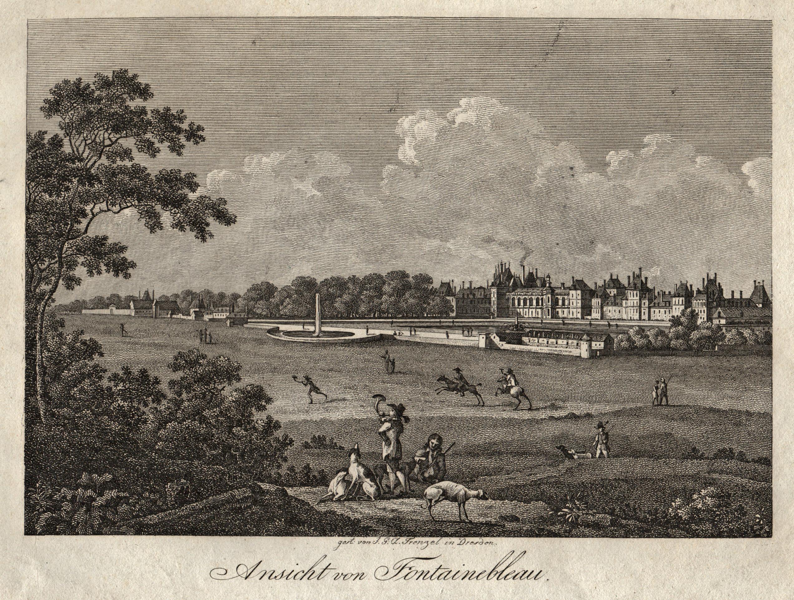 """TA., Schloßansicht, """"Ansicht von Fontainebleau"""".: Fontainebleau:"""