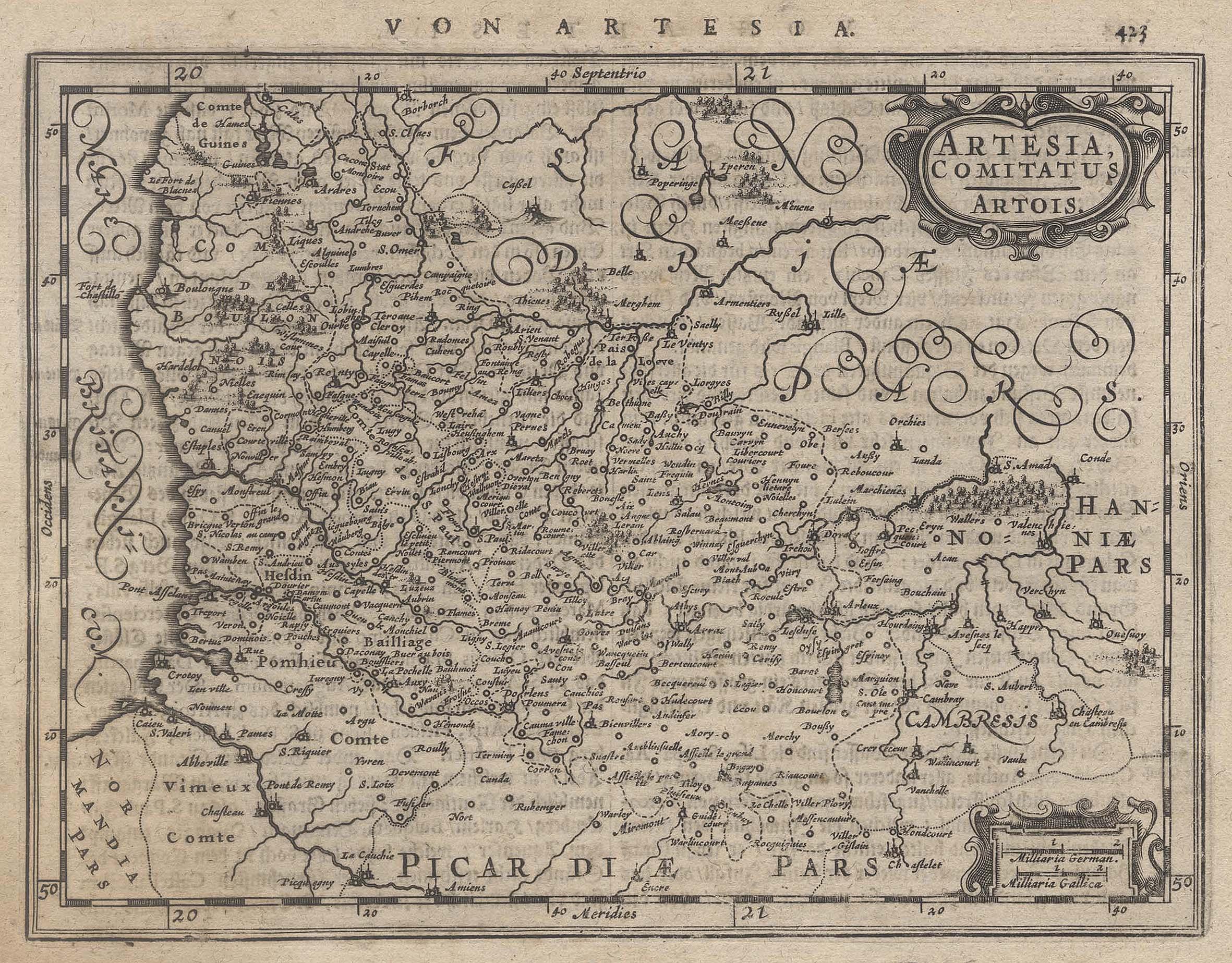 Kst.- Karte, b. Janssonius aus Atlas Minor,: Artois: