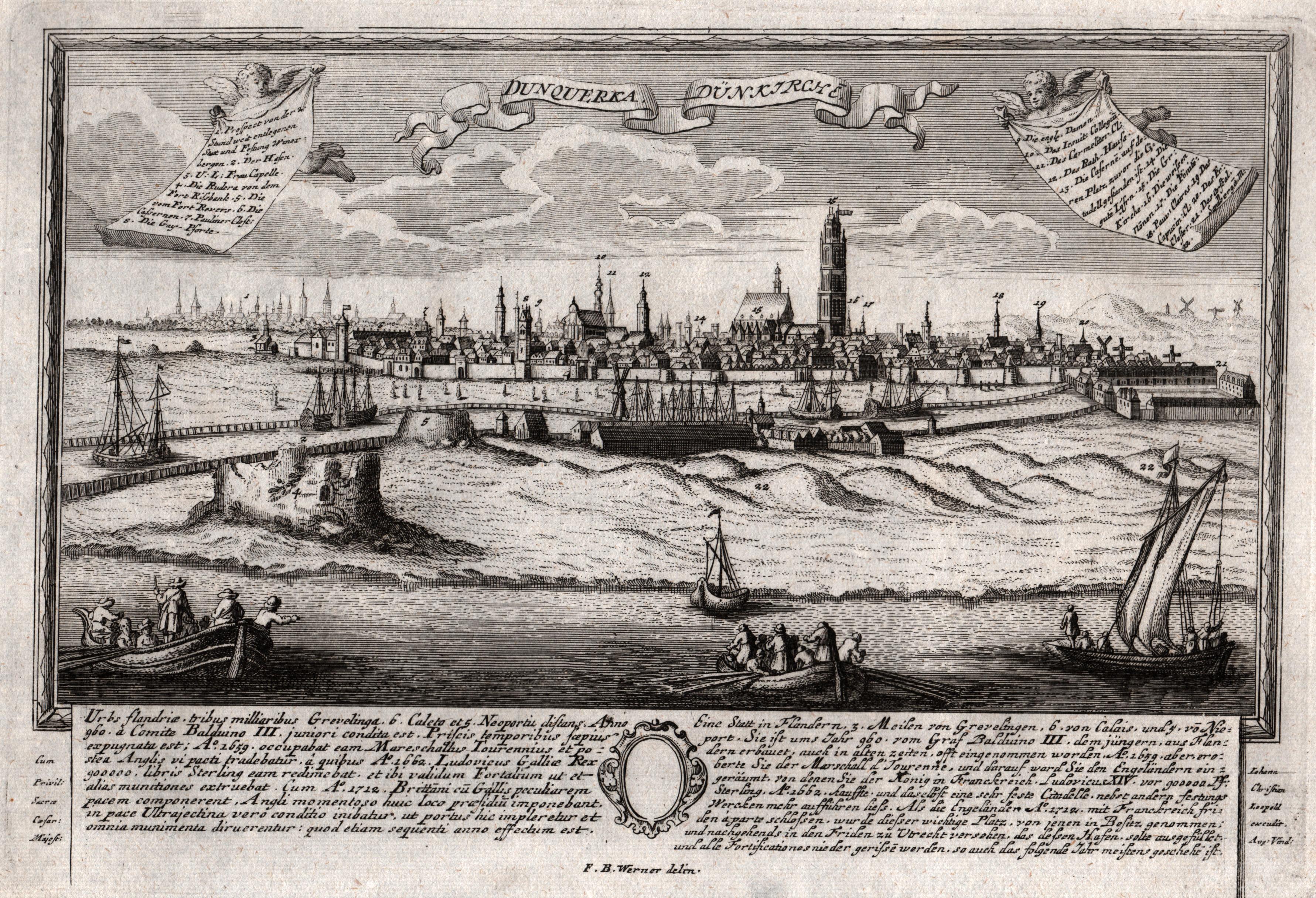 """Gesamtans., im Vordergrund die Hafenanlagen, """"Dunquerka -: Dünkirchen:"""