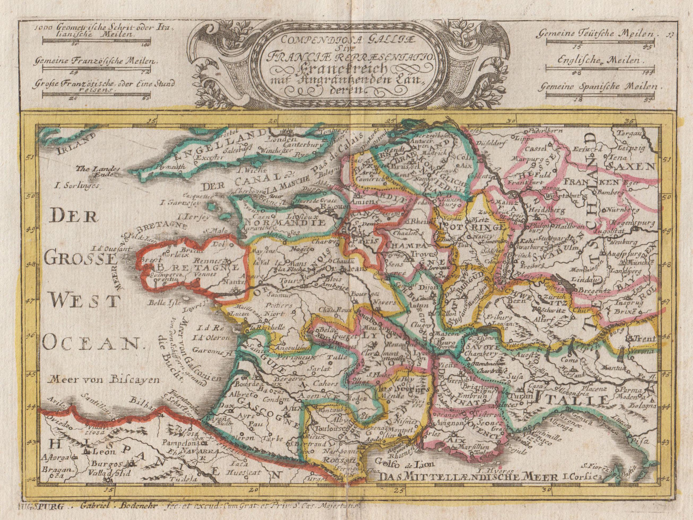 Kst.- Karte, v. und b. Gab. Bodenehr,: Frankreich ( France