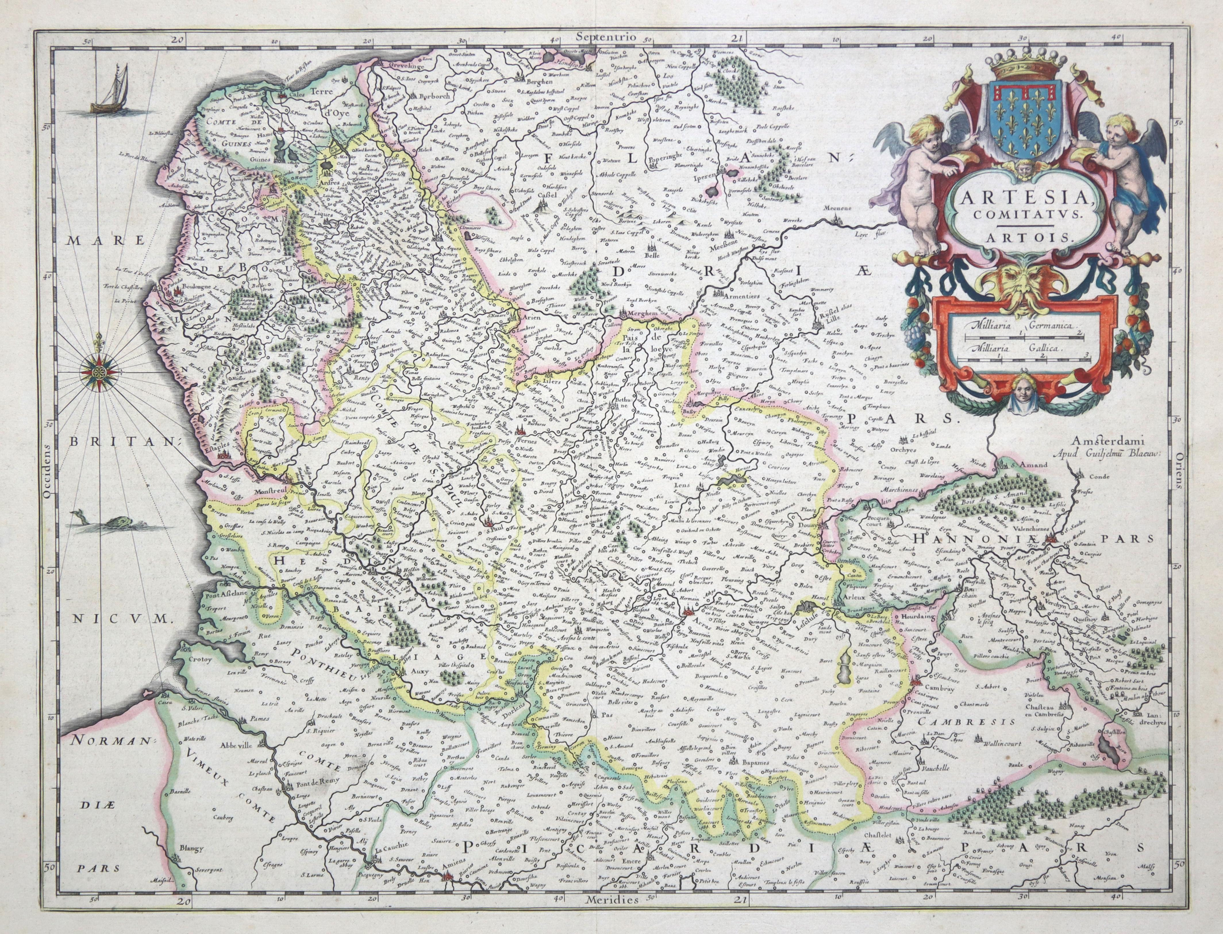"Kst.- Karte, b. Guil. Blaeu, ""Artesia Comitatvs.: Artois:"