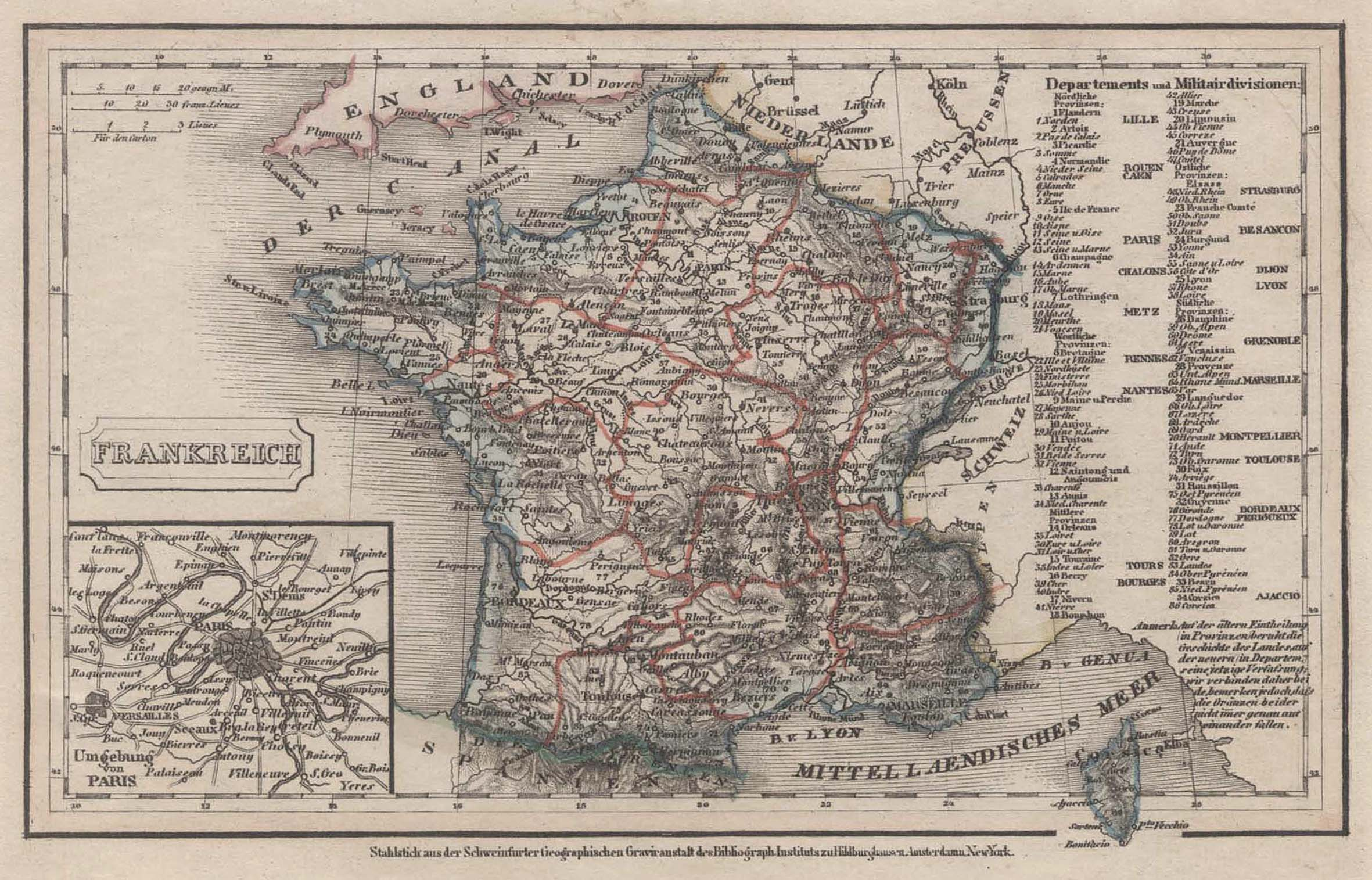 "Stst.- Karte, b. B.I., ""Frankreich"".: Frankreich ( France"
