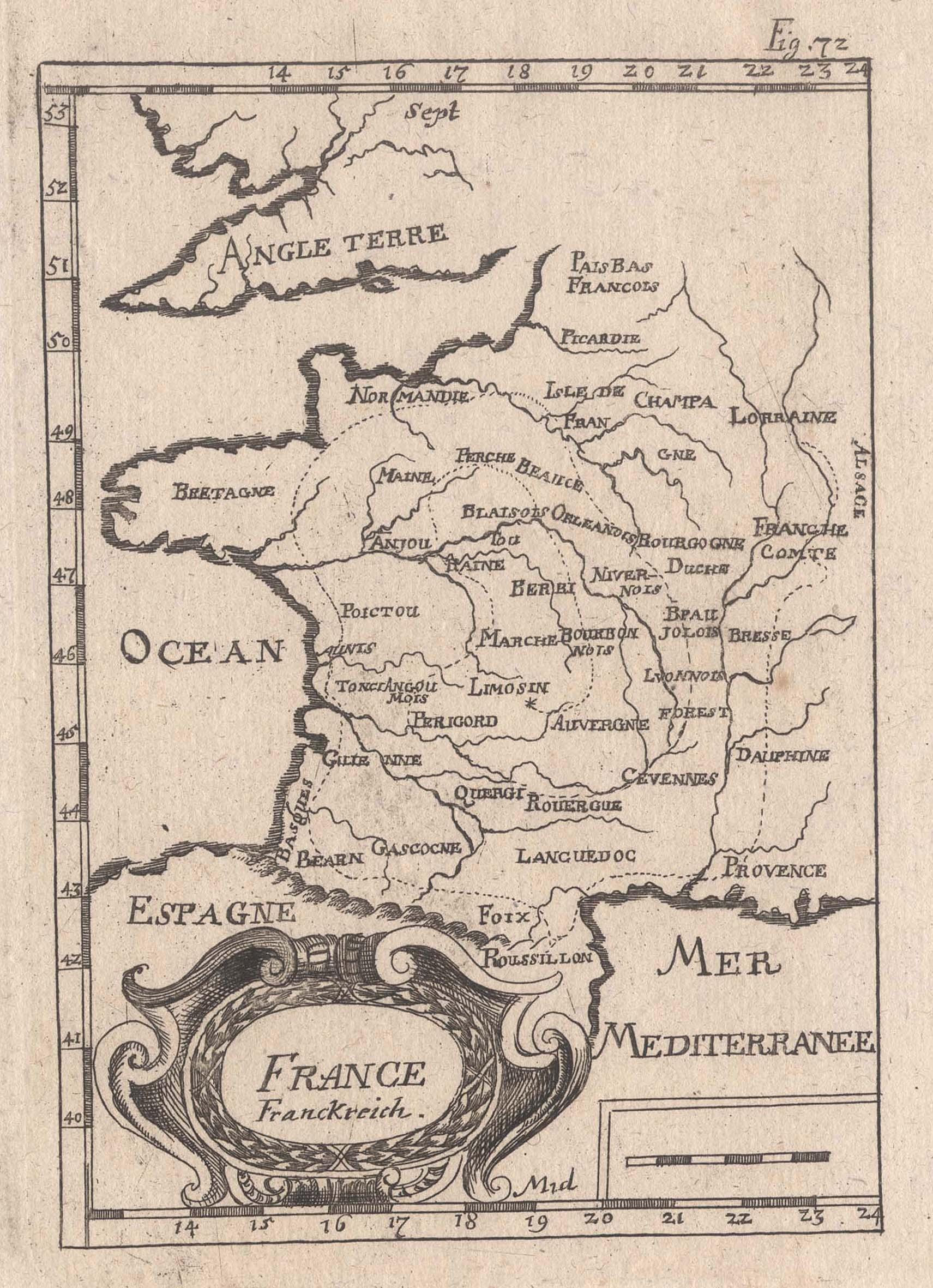 """Kst.- Karte, aus Mallet, """"France Franckreich."""".: Frankreich ( France"""