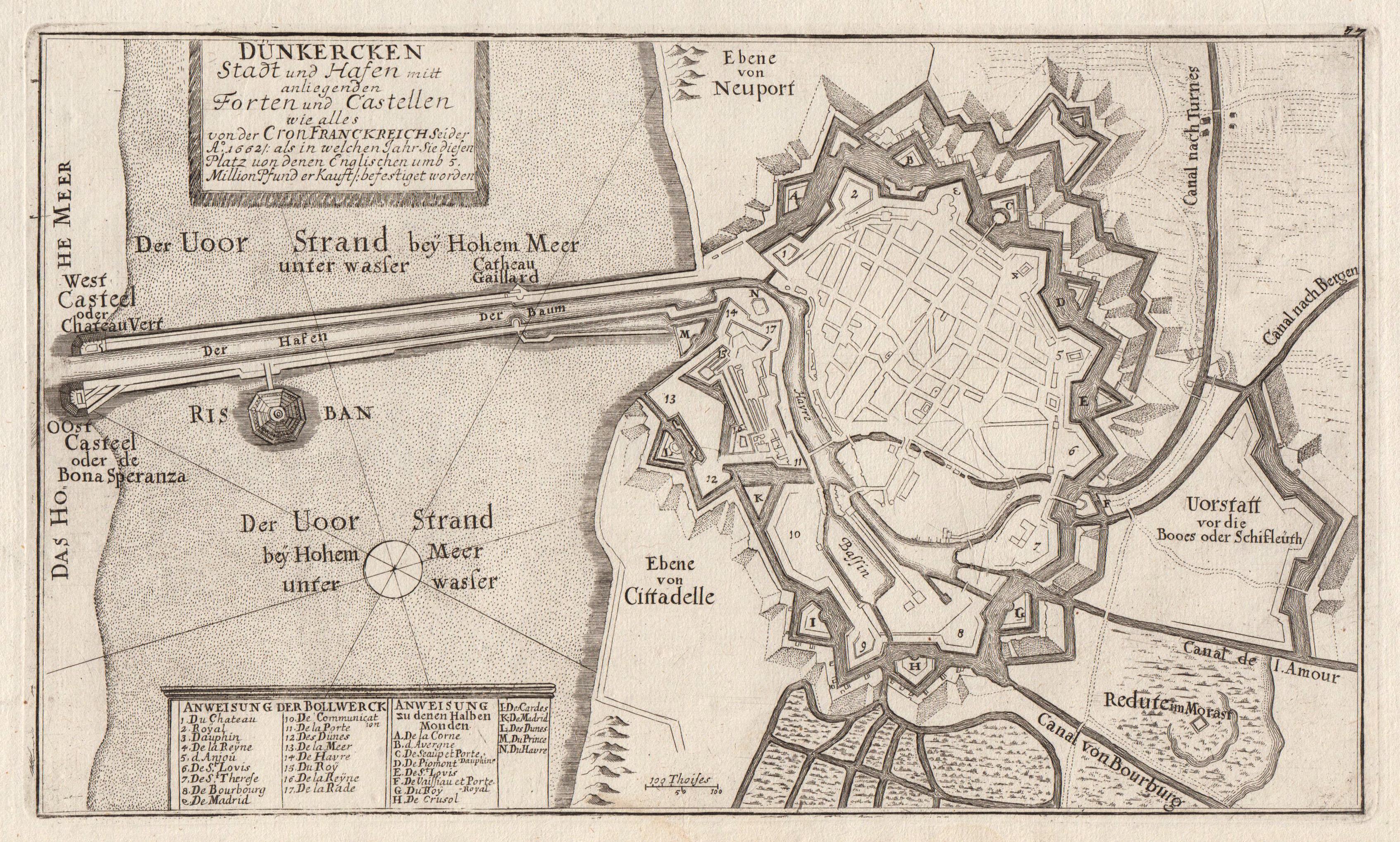 """Befestigungsgrundriß, """"Dünkirchen. Stadt und Hafen mitt anliegenden: Dünkirchen:"""