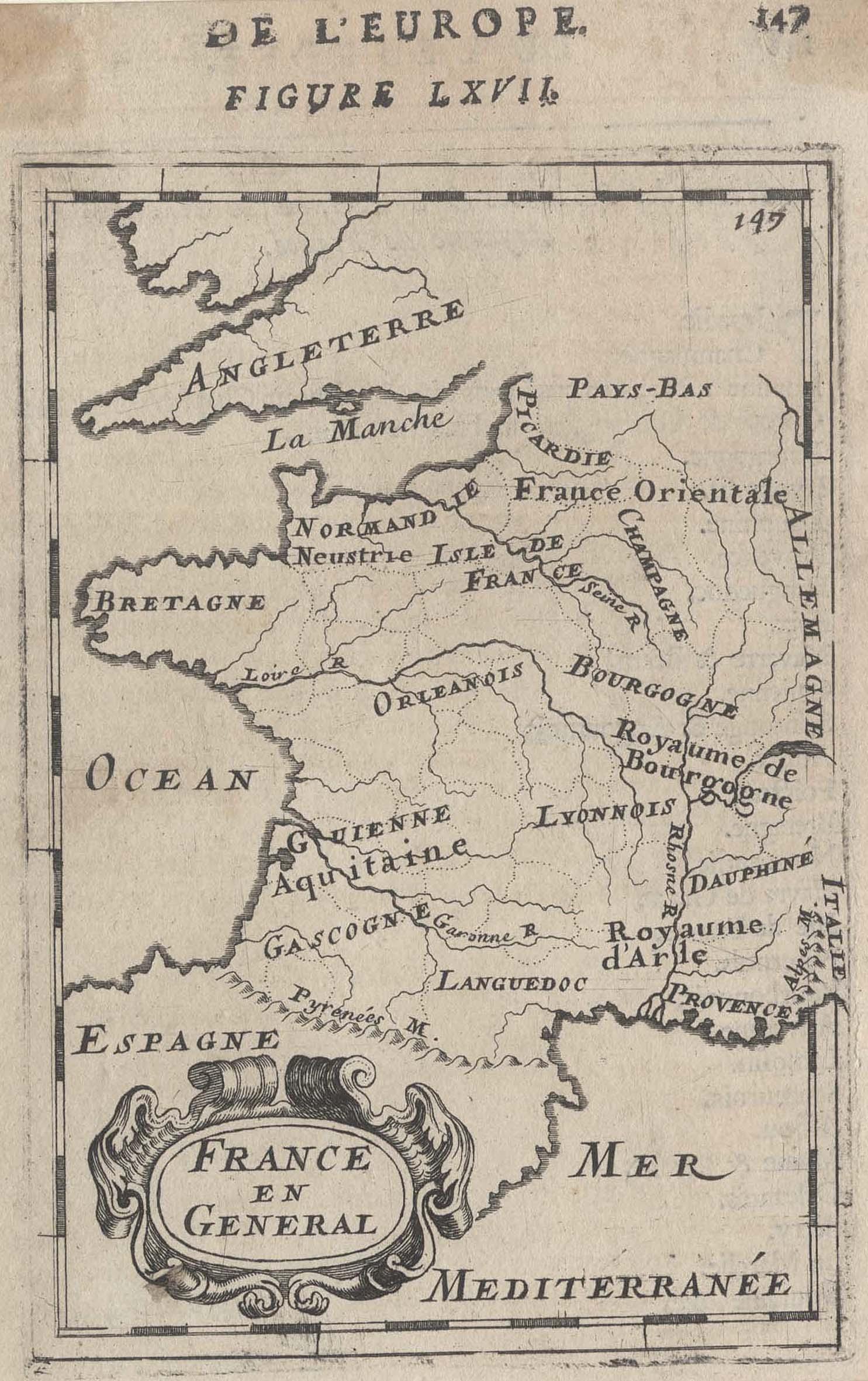"""Kst.- Karte, aus Mallet, """"France en General"""".: Frankreich ( France"""