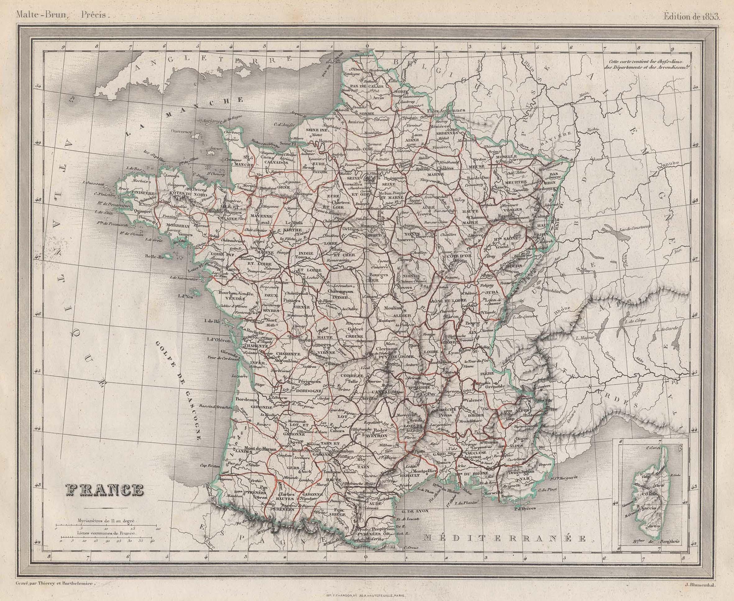 Stst.- Karte, v. Thierry et Barthelemier n.: Frankreich ( France