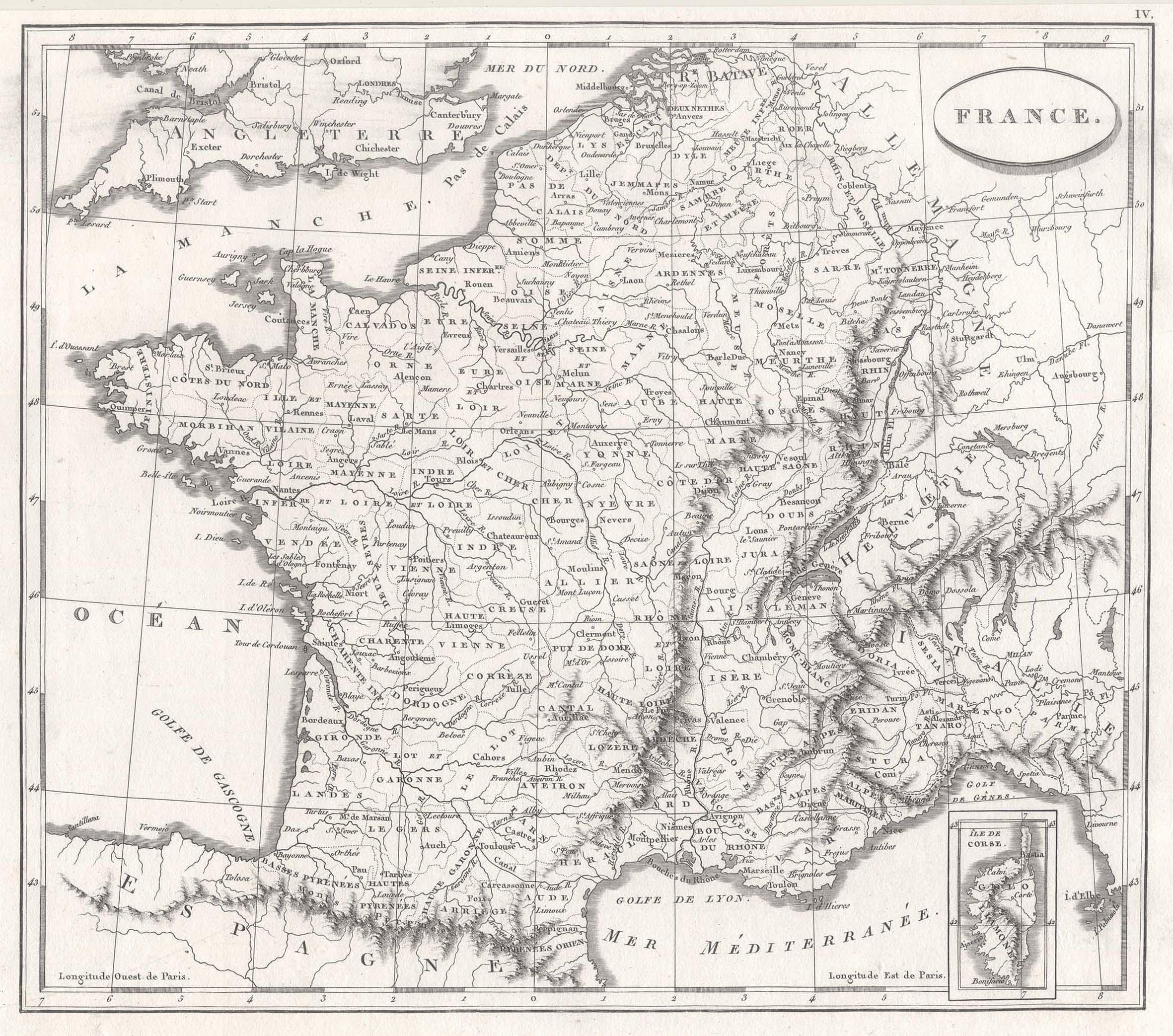 Kst.- Karte, n. Arrowsmith u. Buache aus: Frankreich ( France