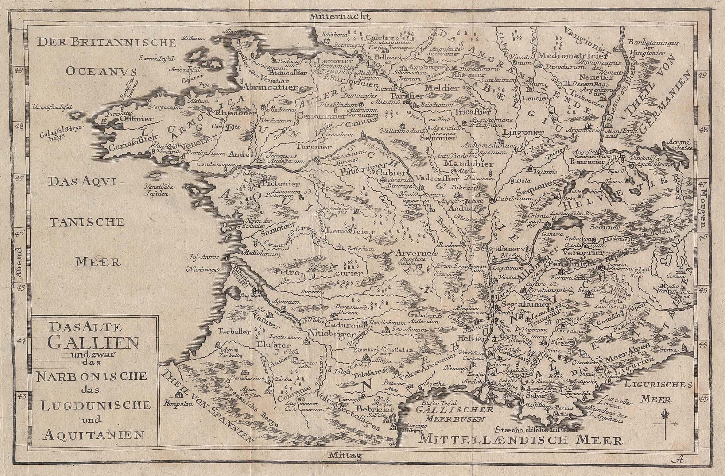 """Kst.- Karte, """"Das Alte Gallien und zwar: Frankreich ( France"""