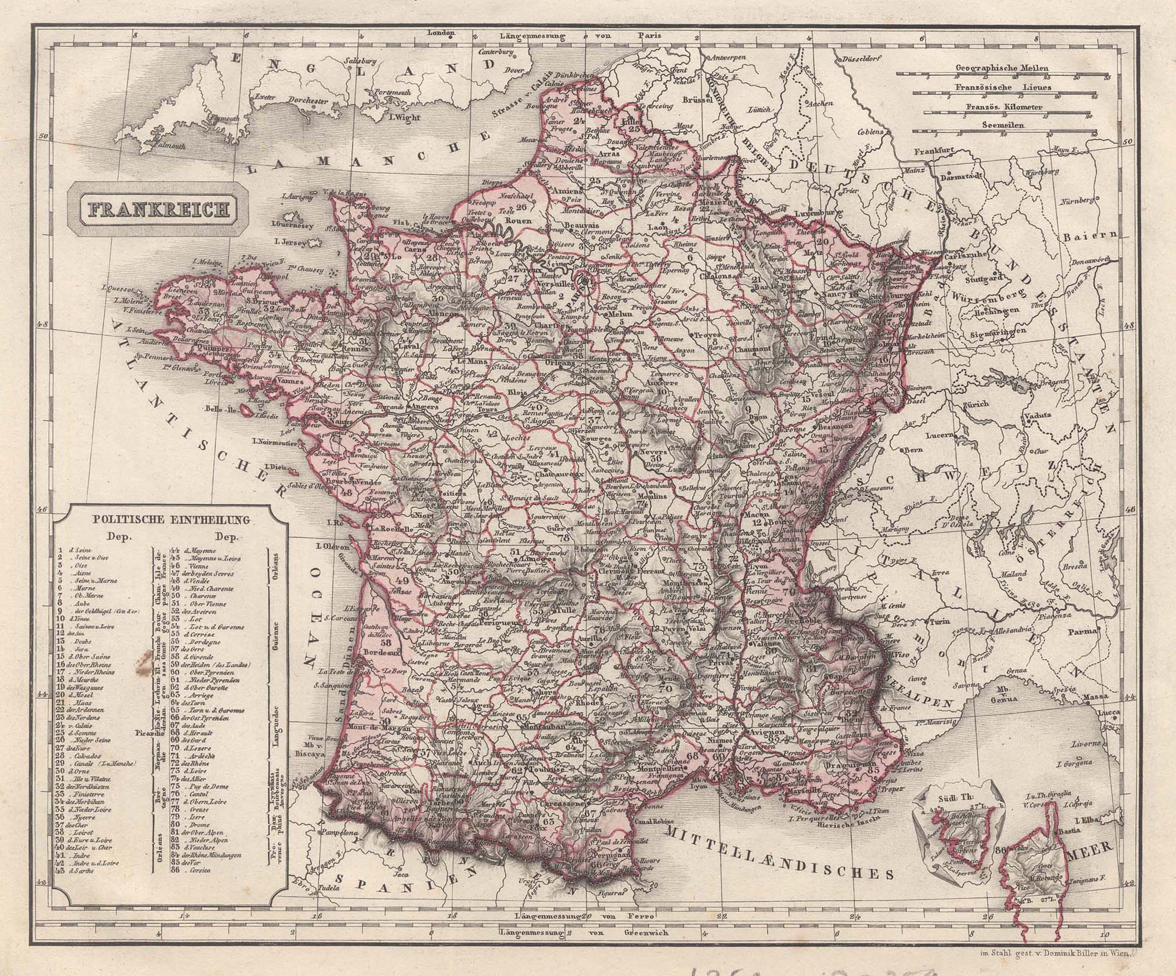 """Stst.- Karte, v. Dominik Biller, """"Frankreich"""".: Frankreich ( France"""