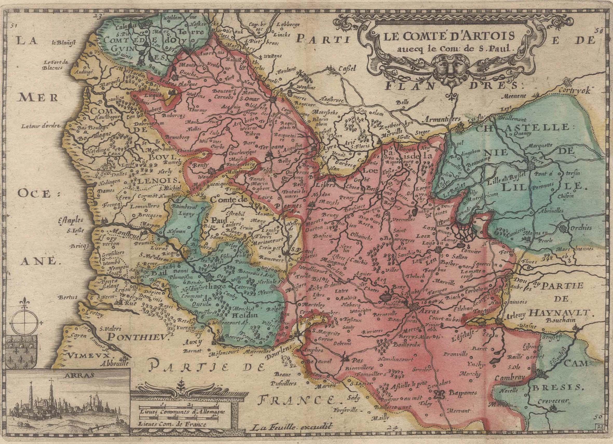 """Kst.- Karte, v. La Feuille, """"le Comte: Artois:"""