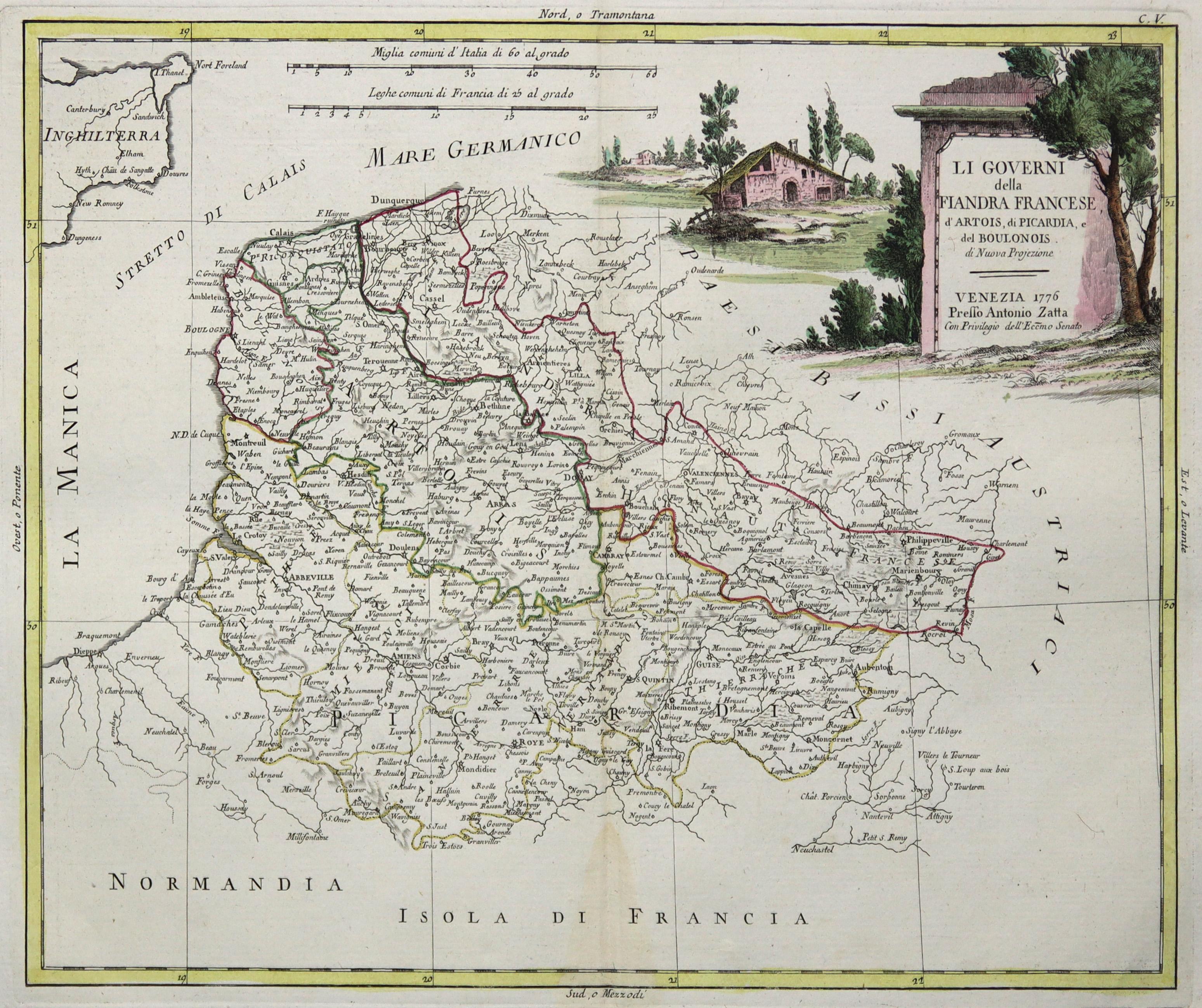 """Kst.- Karte, b. A. Zatta, """"Li Governi: Artois und Picardie:"""
