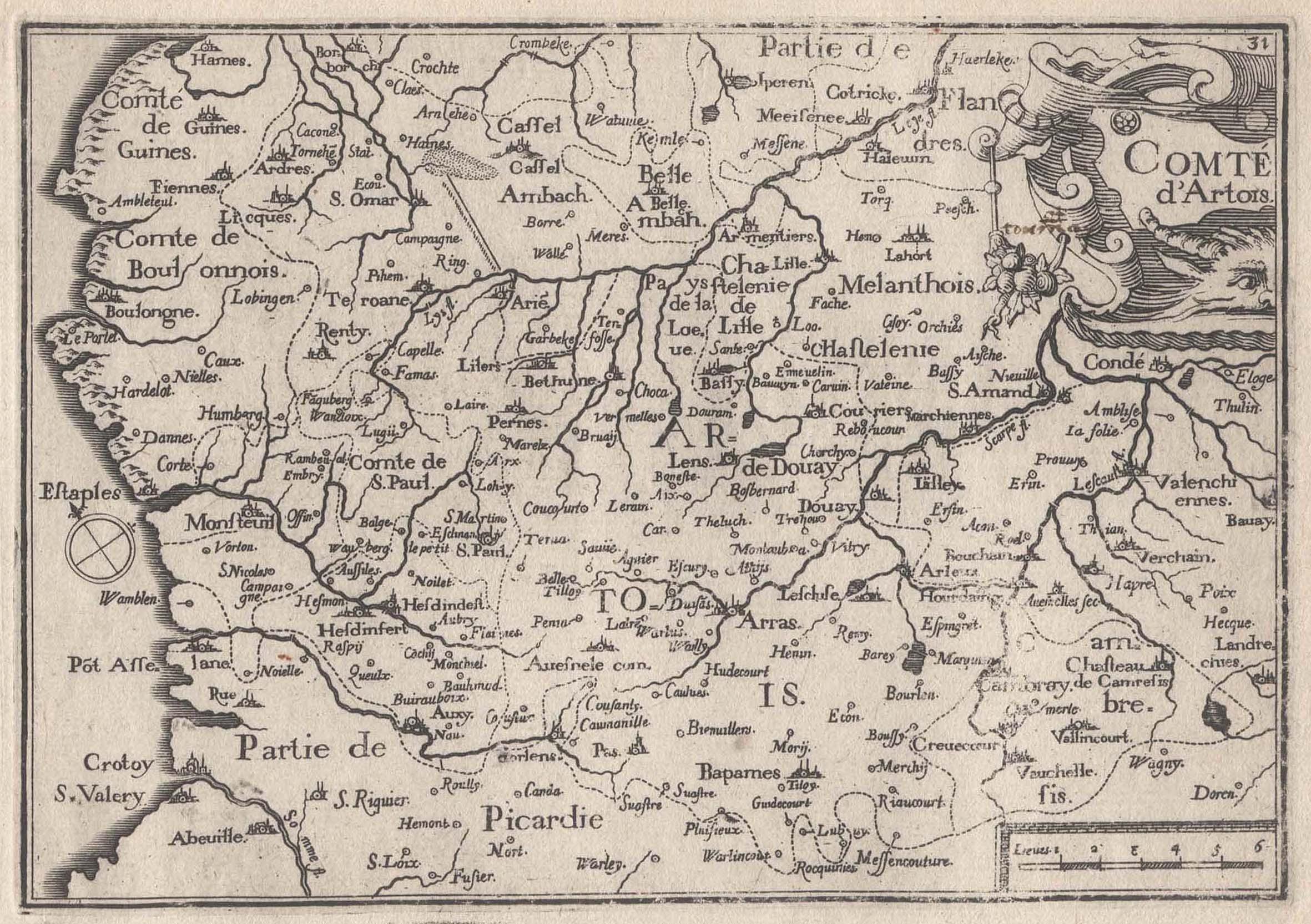 """Kst.- Karte, b. Christophe Tassin, """"Comté d: Artois:"""