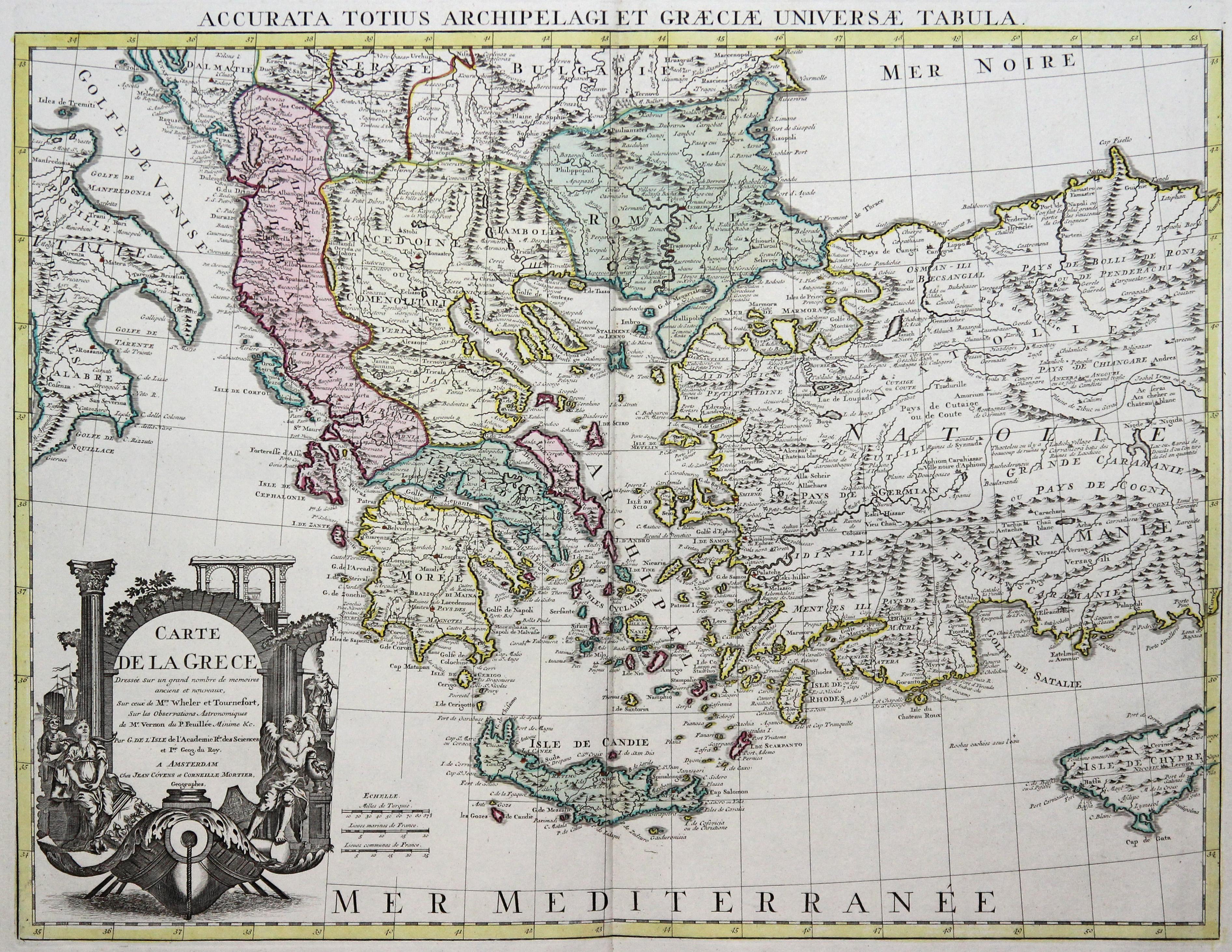 Kst.- Karte, n. G. de l'Isle bei: Griechenland ( Greece