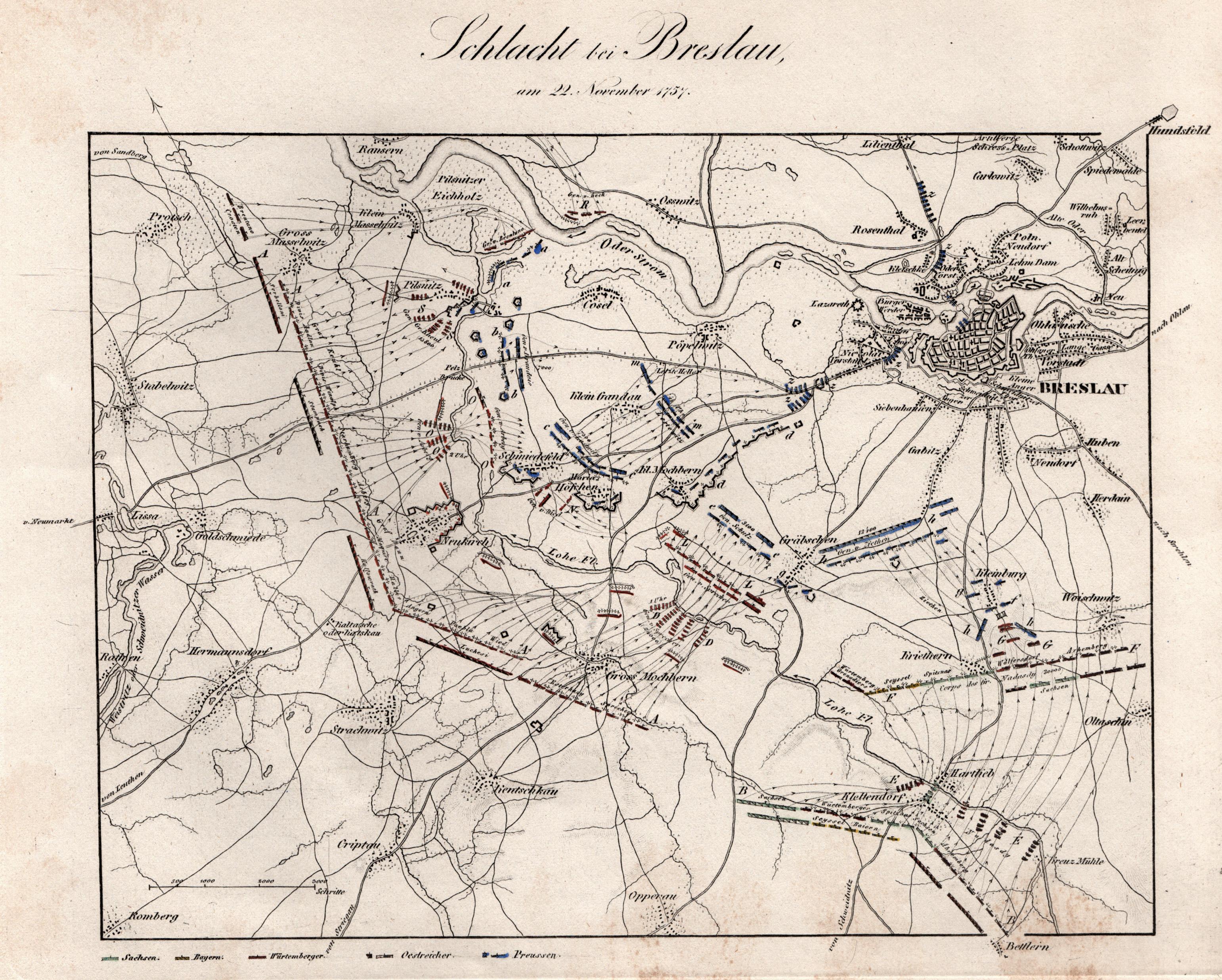 """Darstellung der """"Schlacht bei Breslau, am 22.: Breslau ( Wroclaw"""