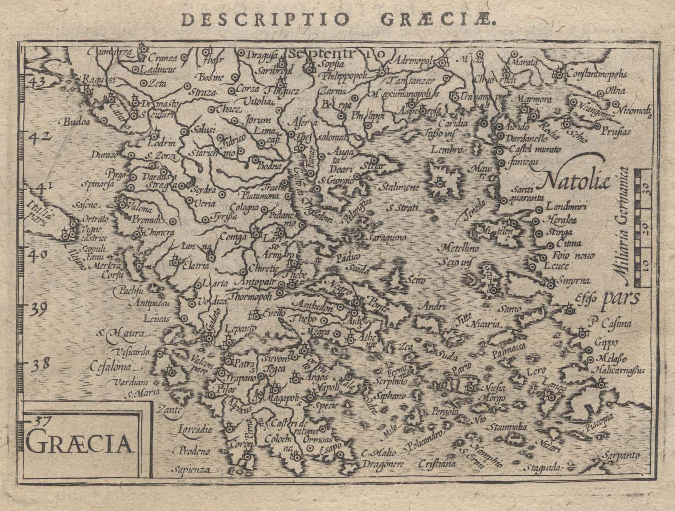 "Kst.- Karte, aus Langenes/ Bertius ""Caert Thresoor"": Griechenland ( Greece"
