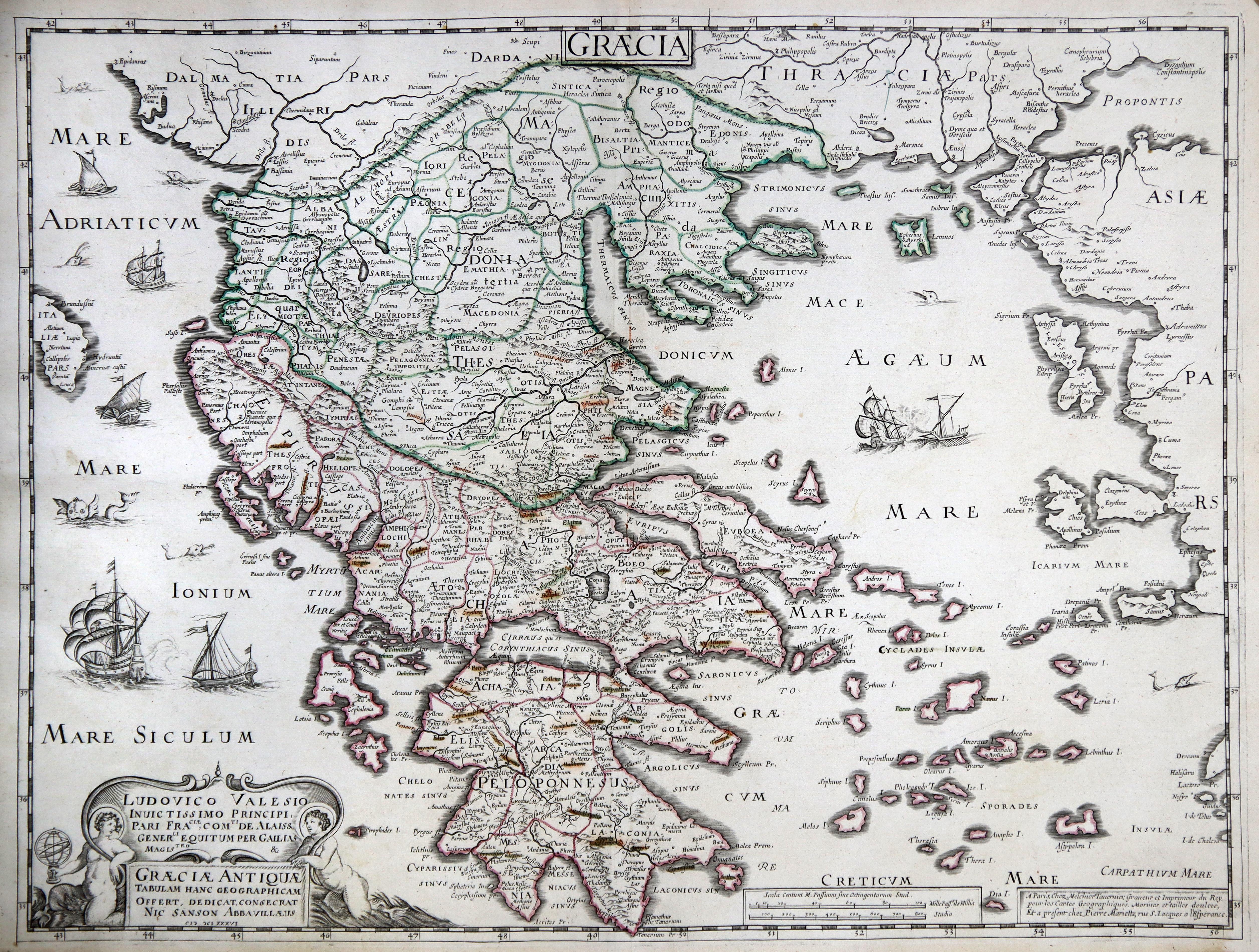 Kst.- Karte, n. Tavernier / N. Sanson: Griechenland ( Greece