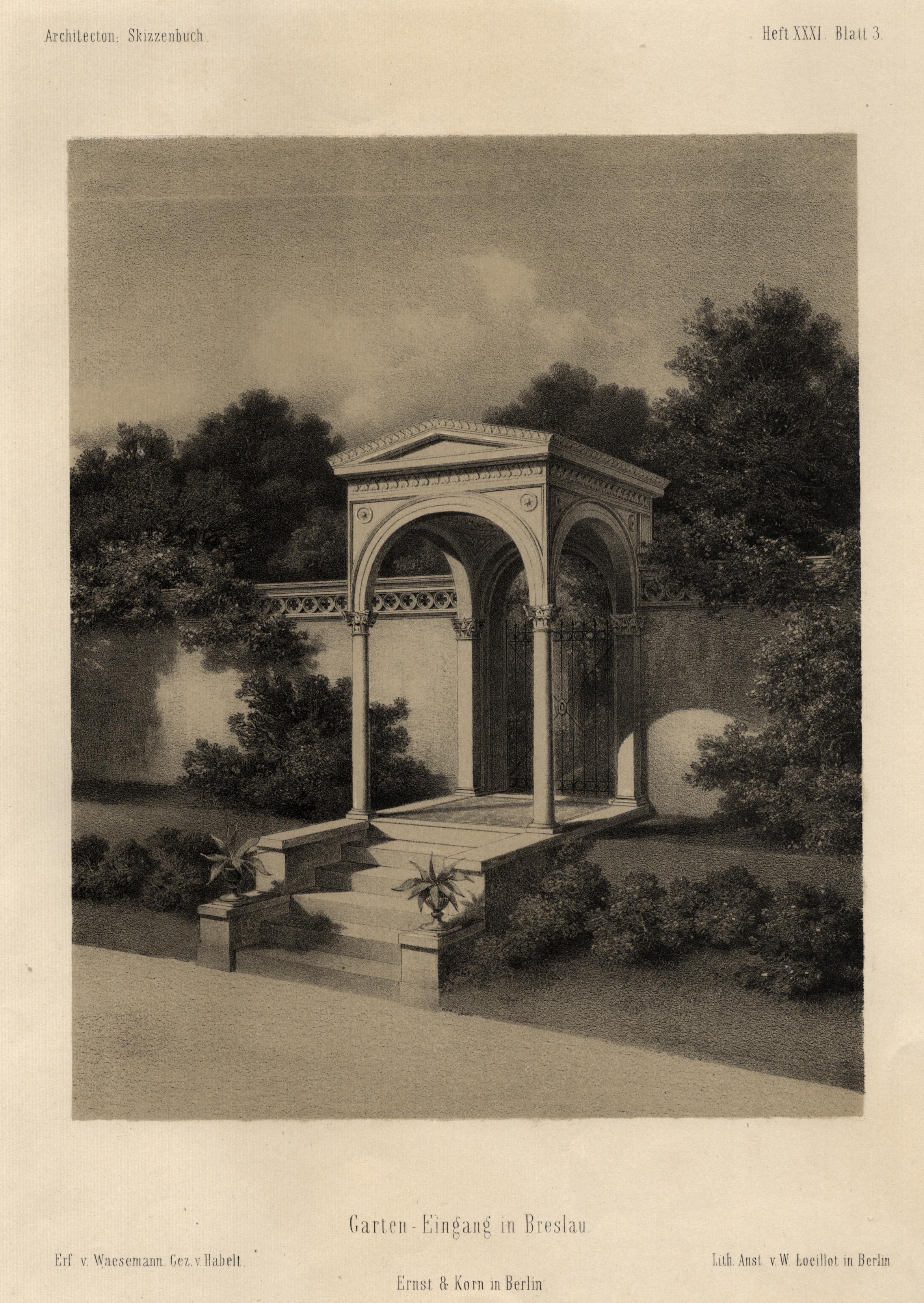 """TA., Park, """"Garten-Eingang in Breslau."""".: Breslau ( Wroclaw"""