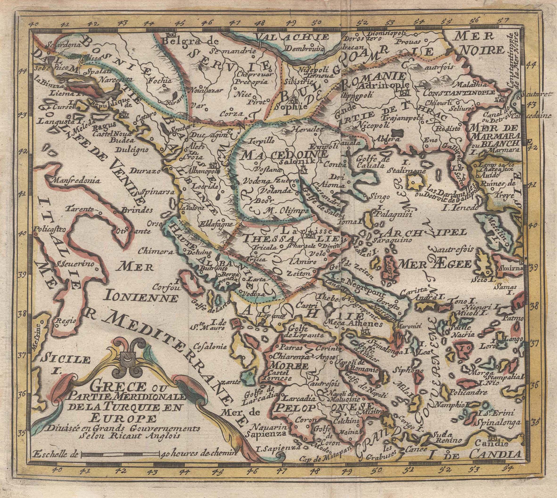 """Kst.- Karte, aus Aefferden, """"Grece, ou Partie: Griechenland ( Greece"""