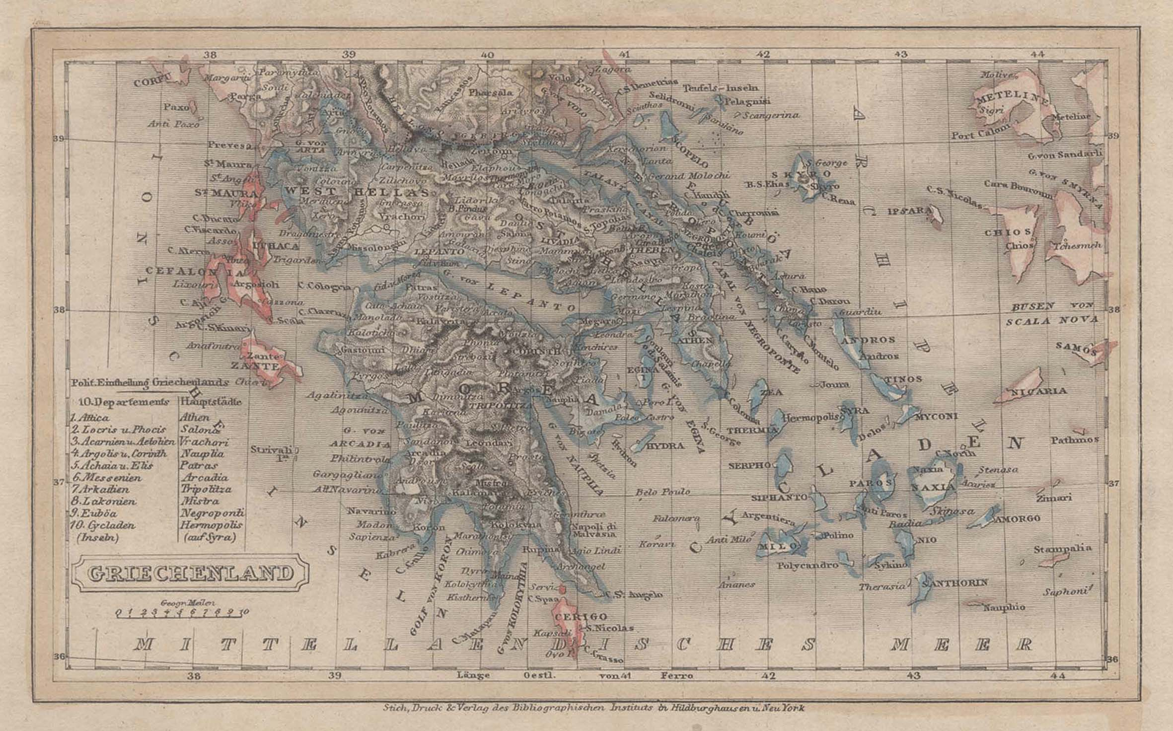 """Stst.- Karte, b. B.I., """"Griechenland"""".: Griechenland ( Greece"""