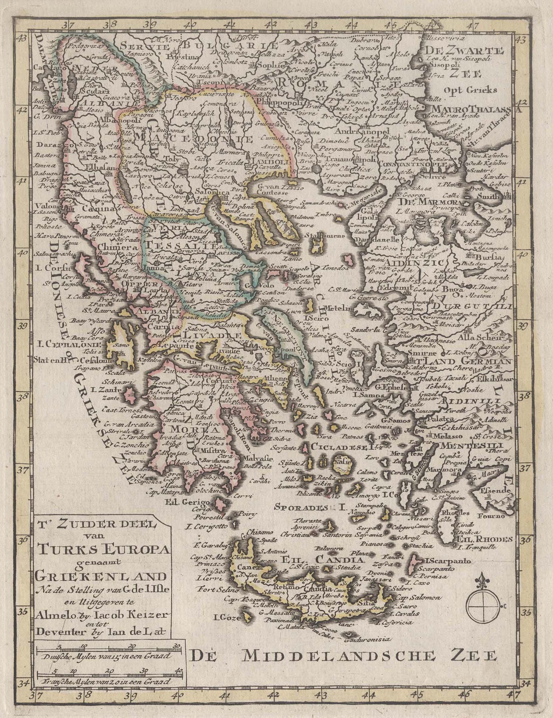 Kst.- Karte, n. J. Keizer u. Jan: Griechenland ( Greece