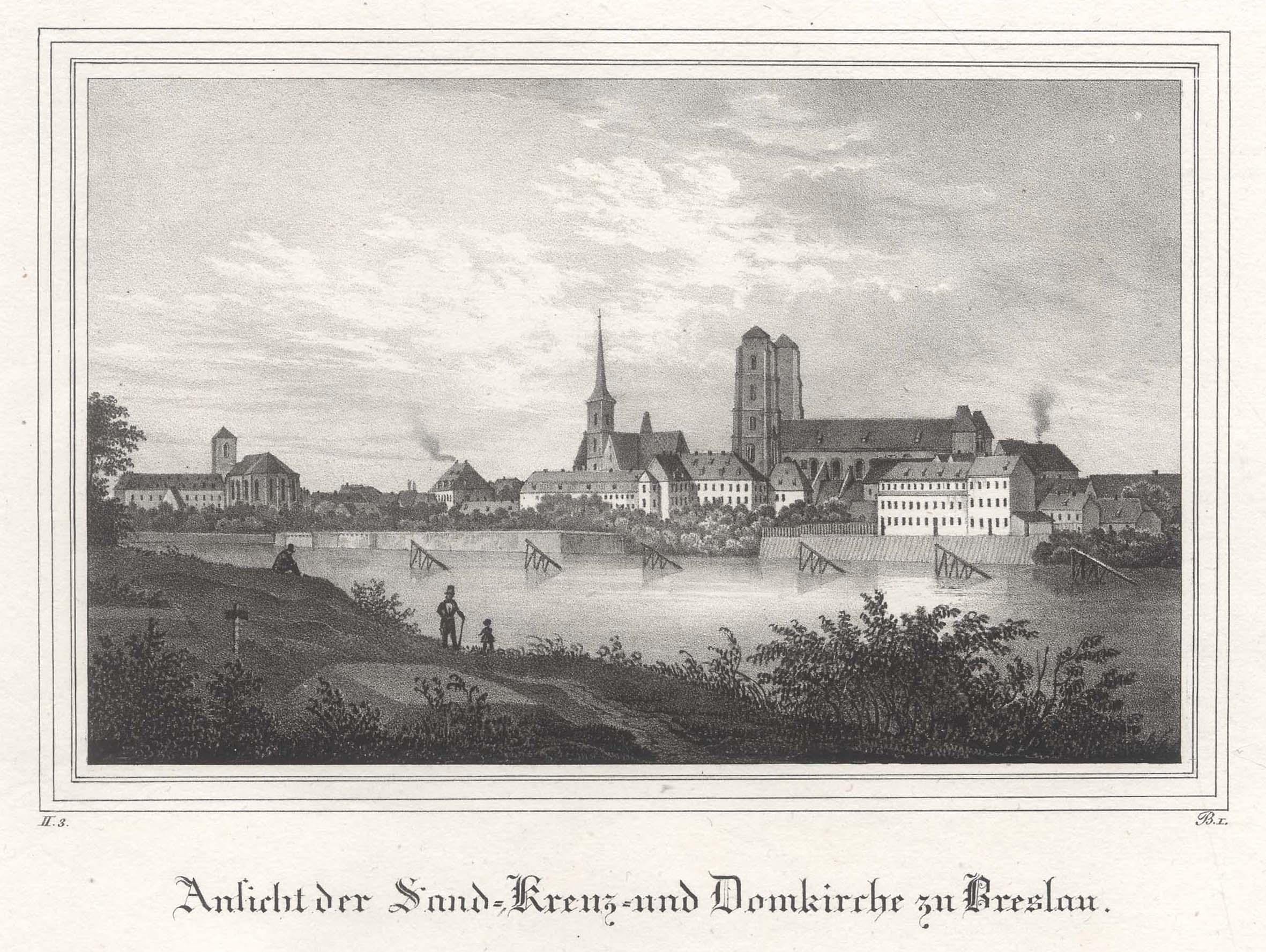 TA., Sandvorstadt, Ansicht m. Sand-, Kreuz- u.: Breslau ( Wroclaw