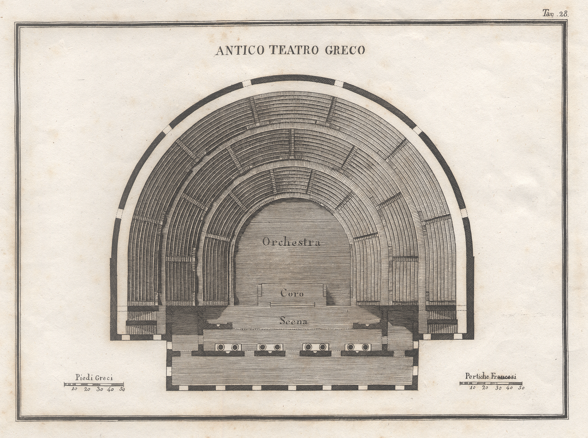 "Grundriss eines Theaters, ""Antico teatro Greco"".: Griechenland ( Greece"