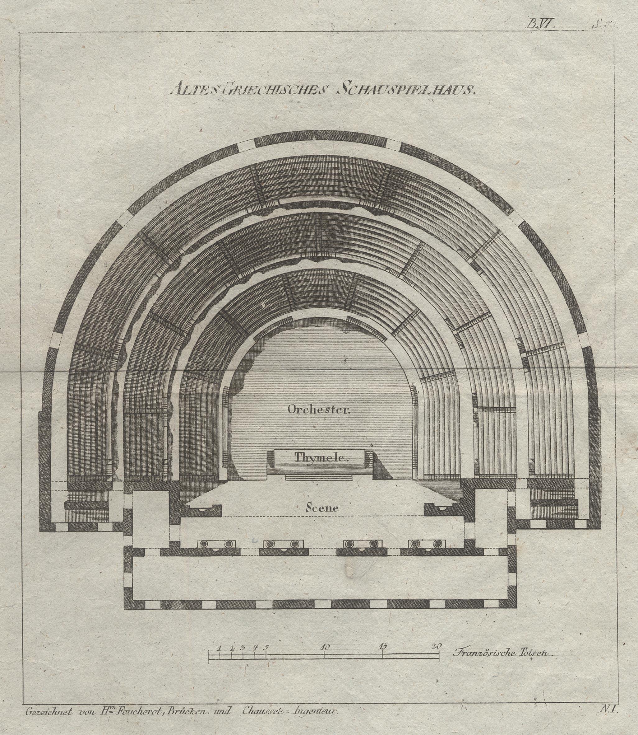 """Grundriss eines Theaters, """"Altes Griechisches Schauspielhaus"""".: Griechenland ( Greece"""