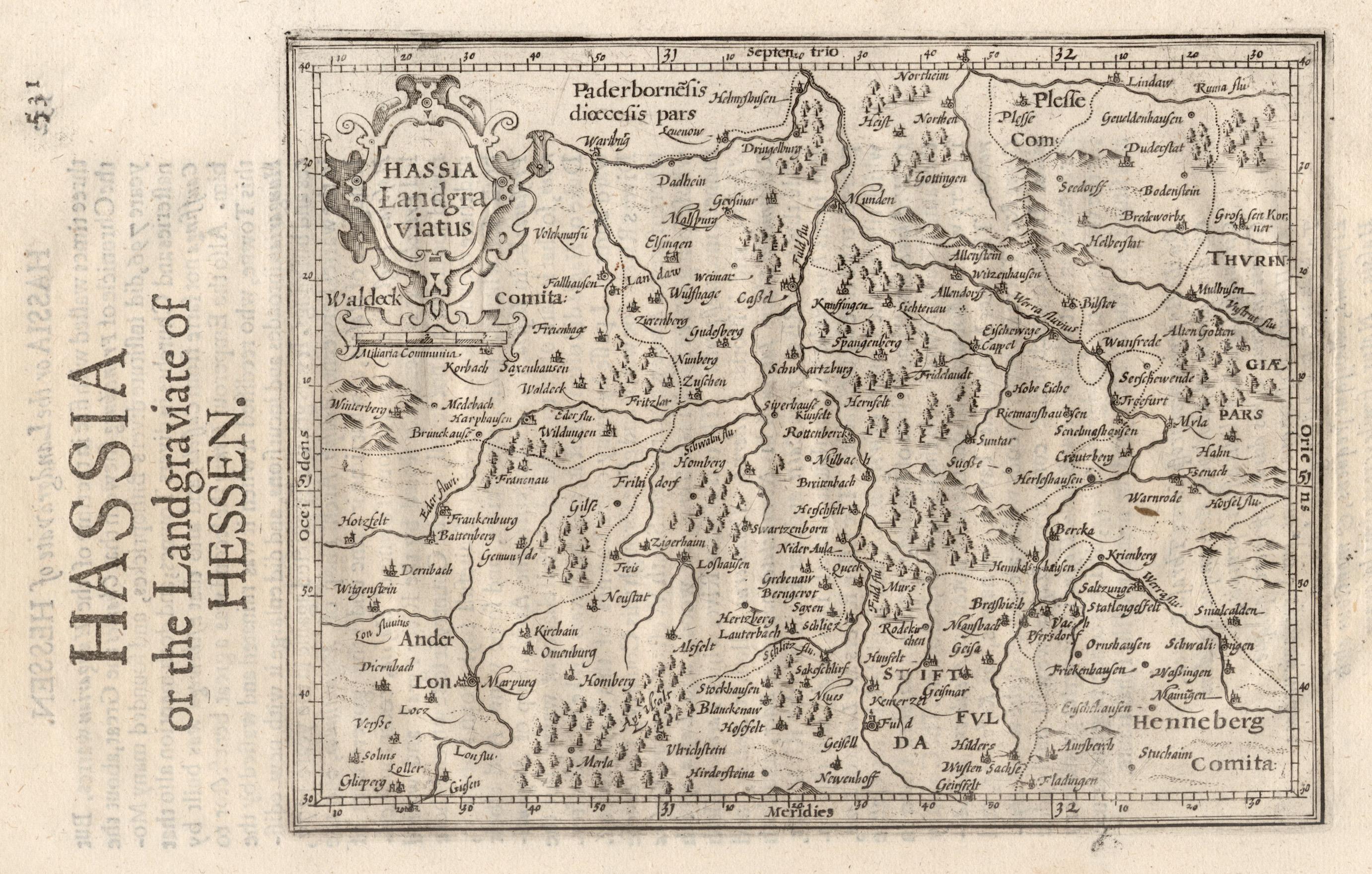 "Kst.- Karte, n. Mercator aus ""Historia Mundi"",: Nordhessen:"