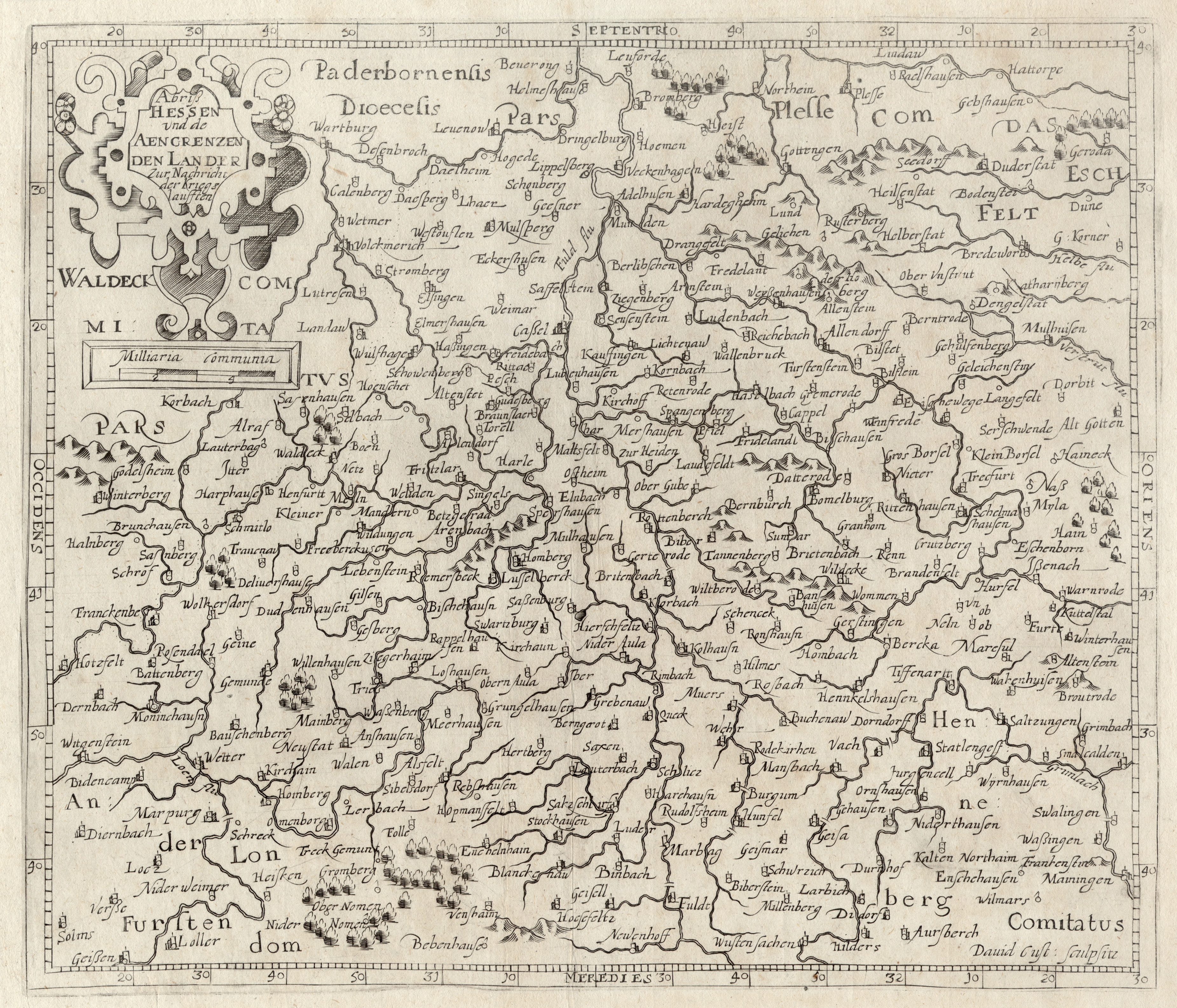"""Kst.- Karte, v. Custos aus Bellus, """"Abriß: Nordhessen:"""