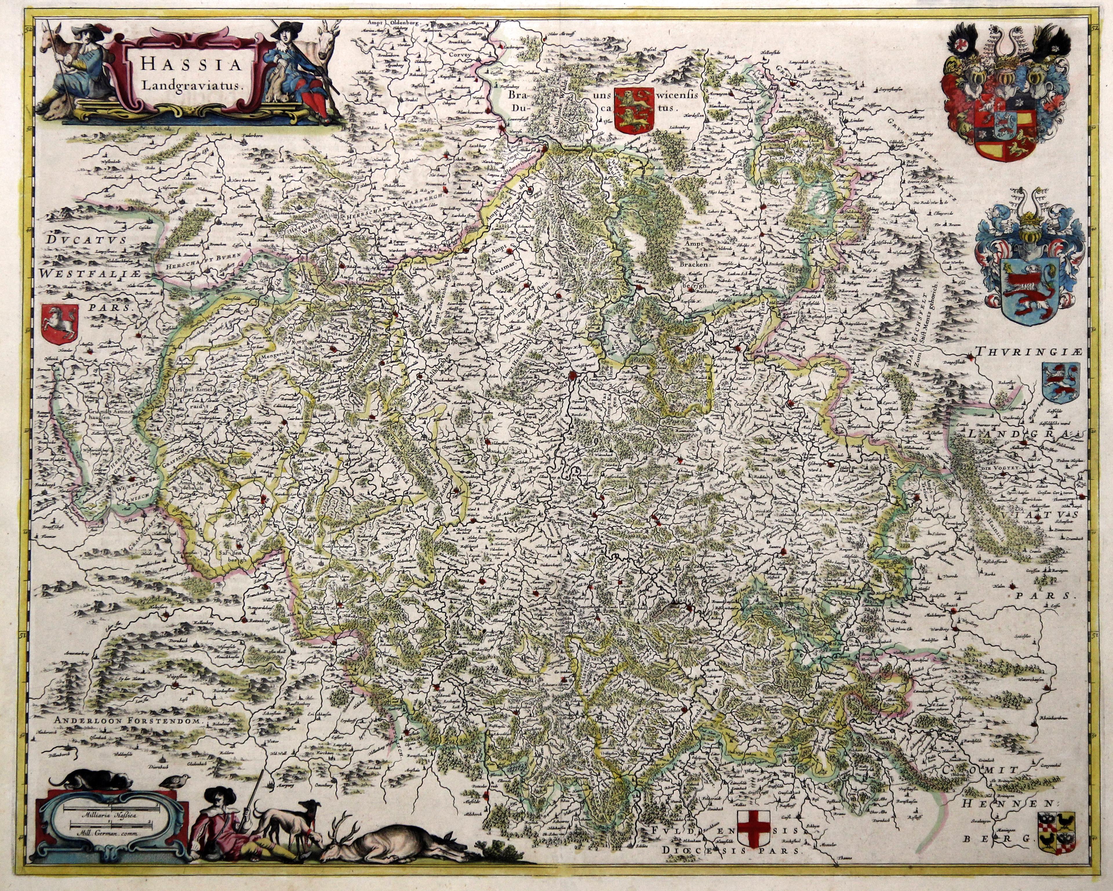 """Kst.- Karte, b. G. Blaeu, """"Hassia Landgraviatus."""".: Nordhessen:"""